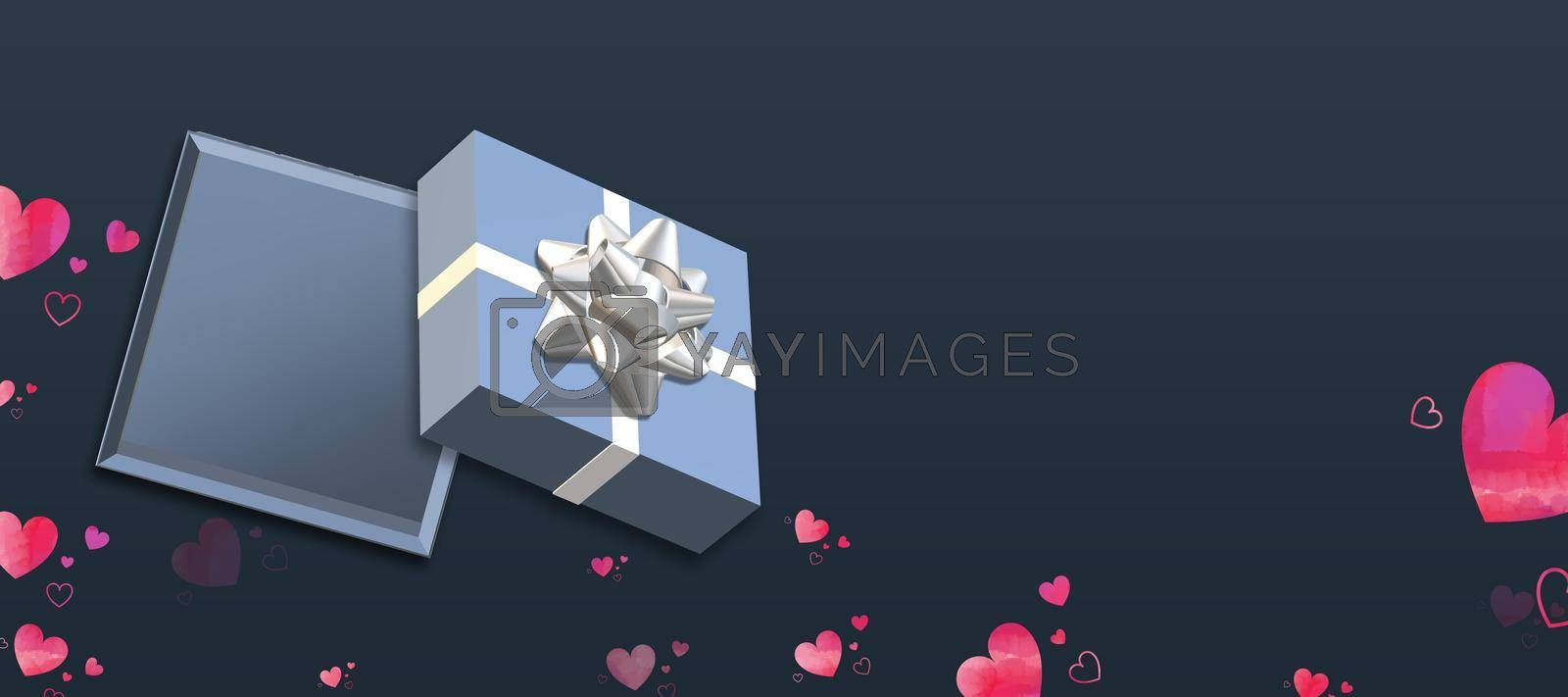 Valentine's Day love design. Horizontal header. Blue gift box, hearts confetti on blue background. Love concept, Valentines design. Place for text, mock up 3D illustration
