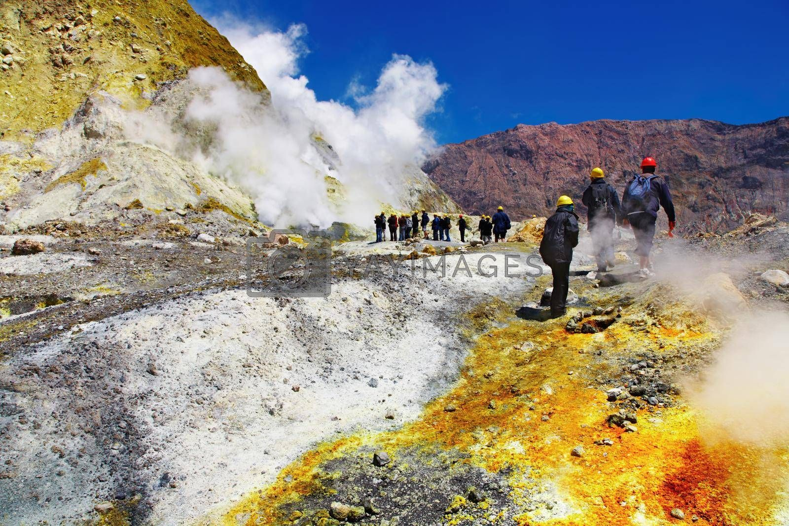 People inside active volcanic crater, White Island volcano, New Zealand
