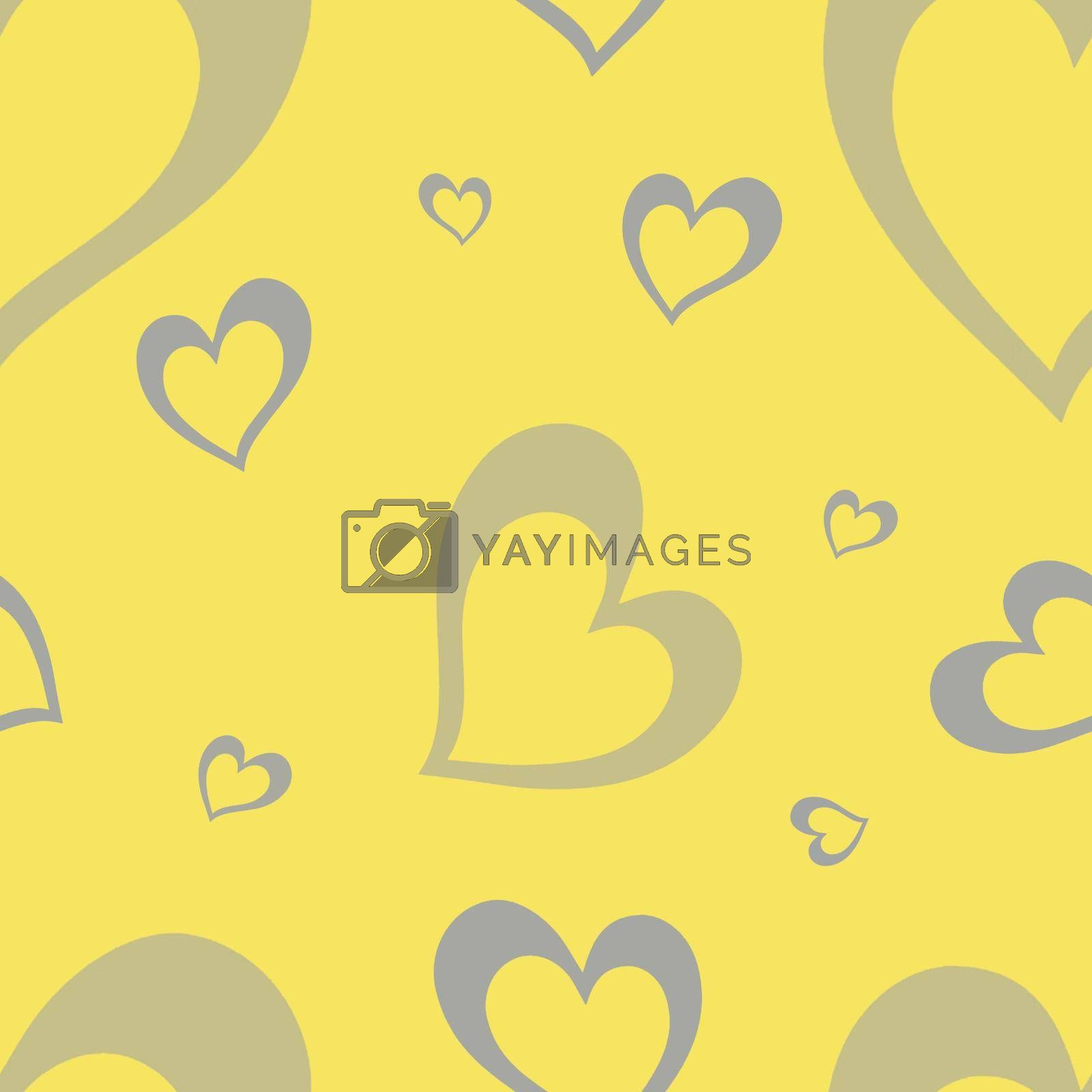 Seamless pattern with elements for Valentine's Day on a yellow background. Cute gray hearts. . High quality photo