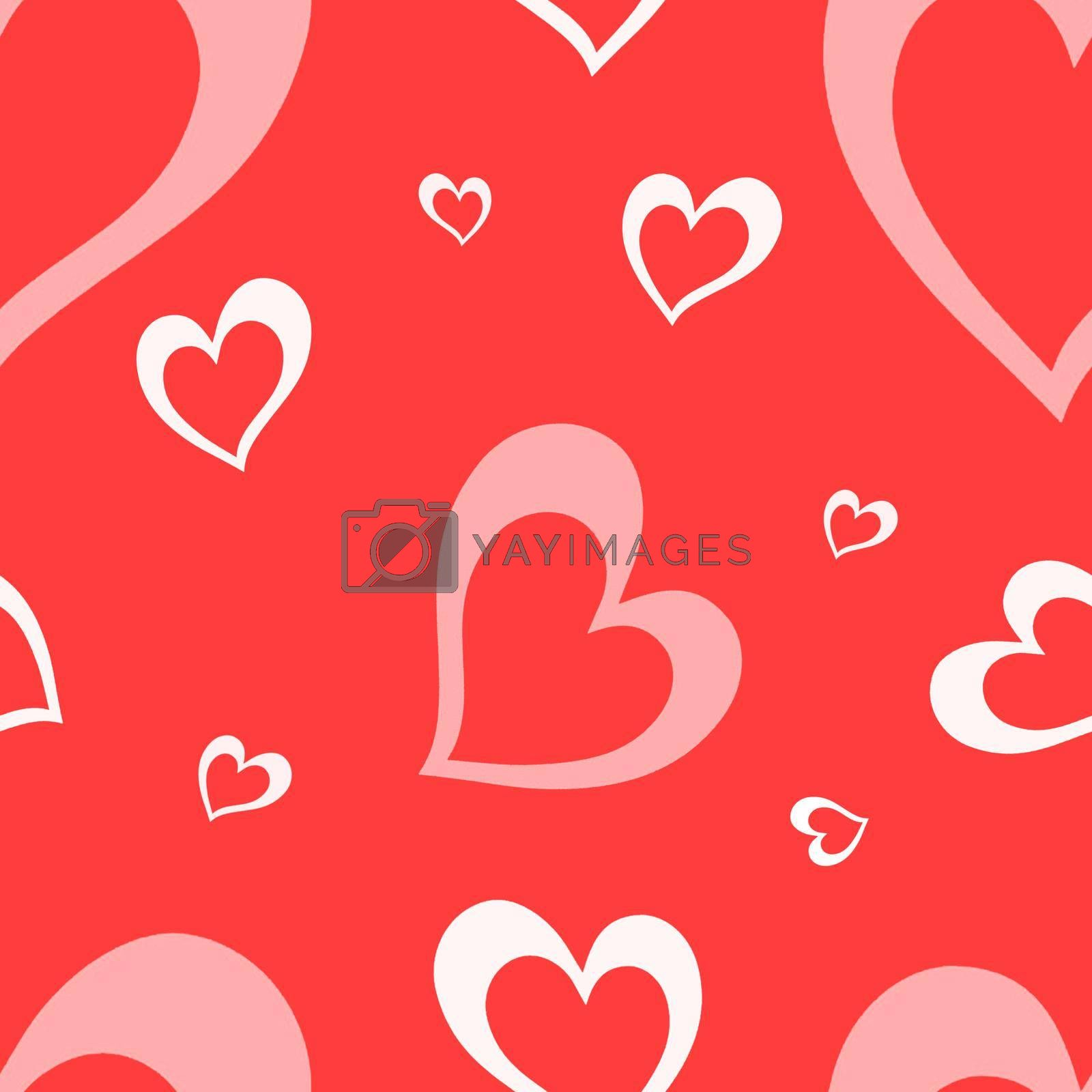 Seamless pattern with elements for Valentine's Day on a red background. Cute hearts. High quality photo