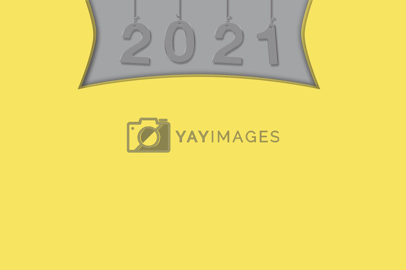 Trend illustration for your design 2021. Colors Ultimate Gray, yellow. Perfect for logo, decorations for advertising, internet. Yellow background. Banner. illustration. High