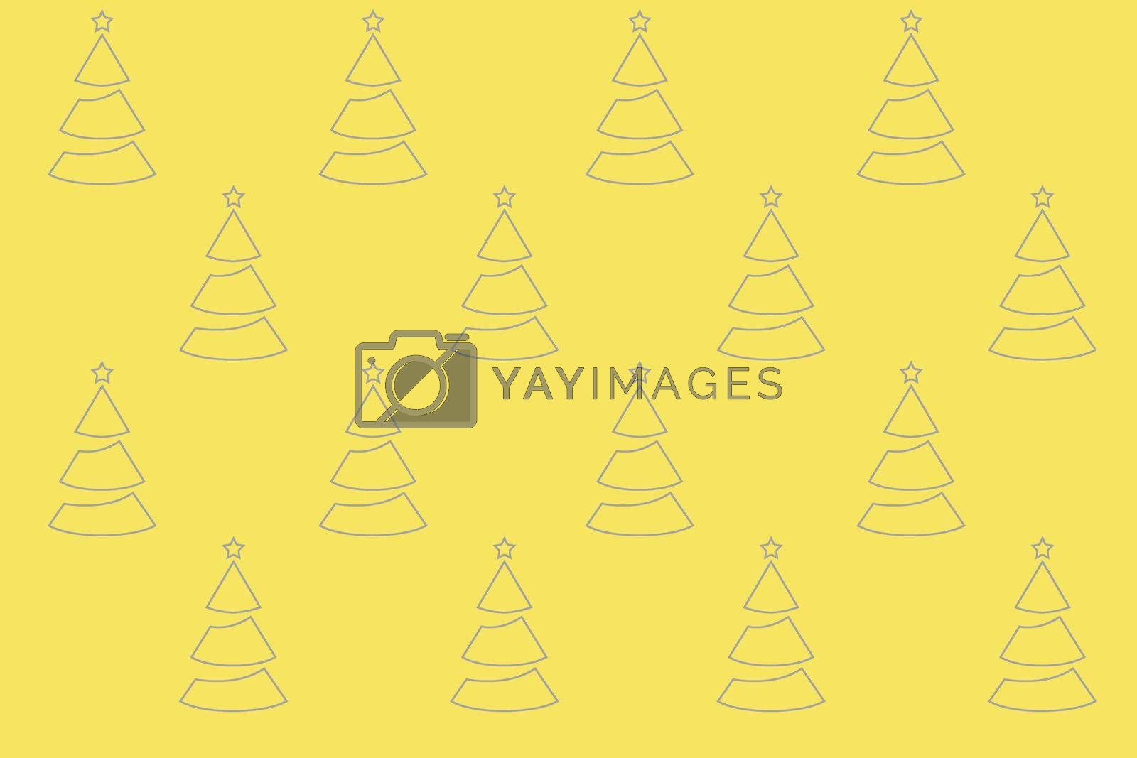 Pattern Christmas trees on a yellow background. Seamless pattern illustration for textiles, surfaces, packaging. New Year's illustration. Trend colors gray and yellow. . High quality photo