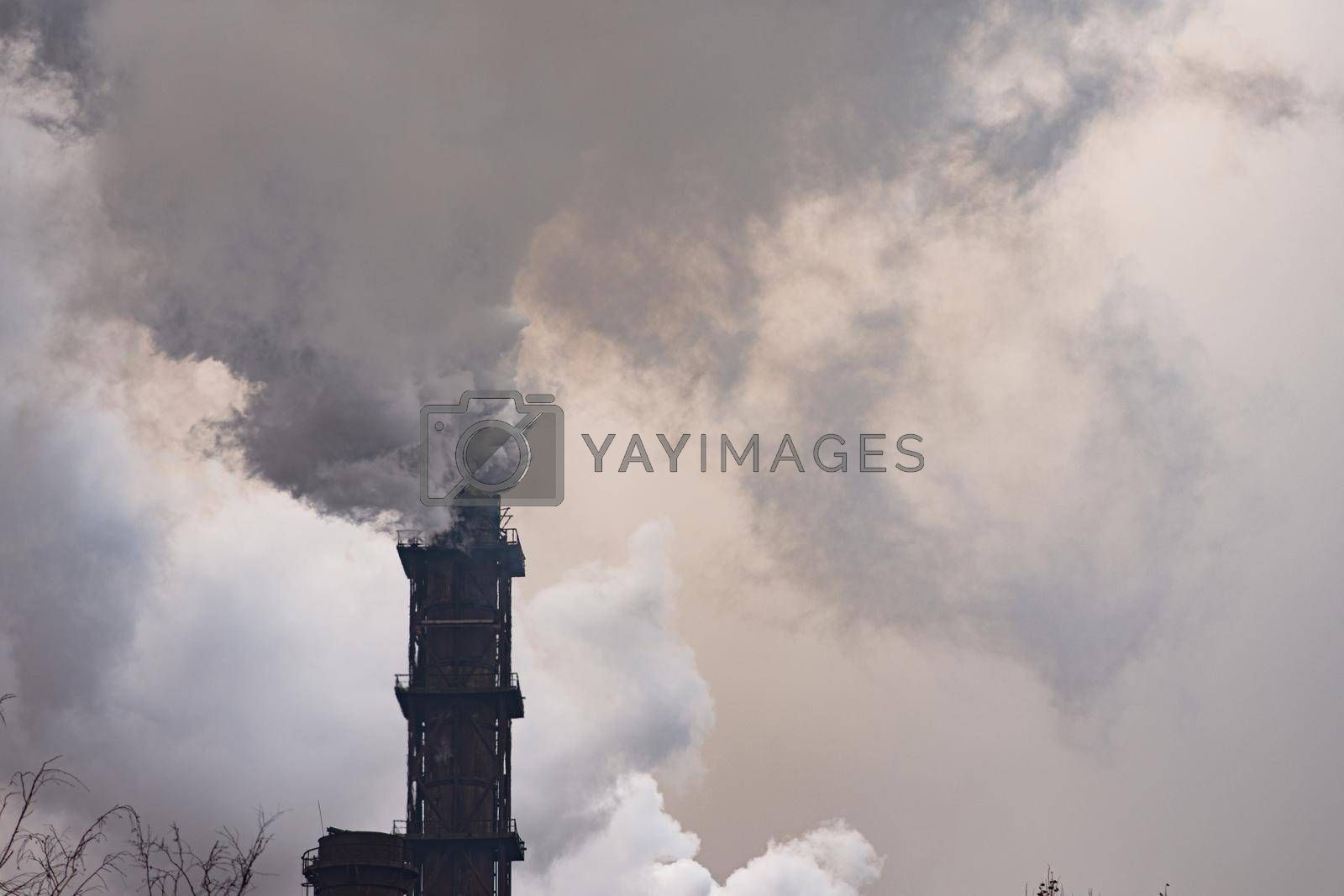 Smoke emission. A dirty environment. bad ecology. High quality photo
