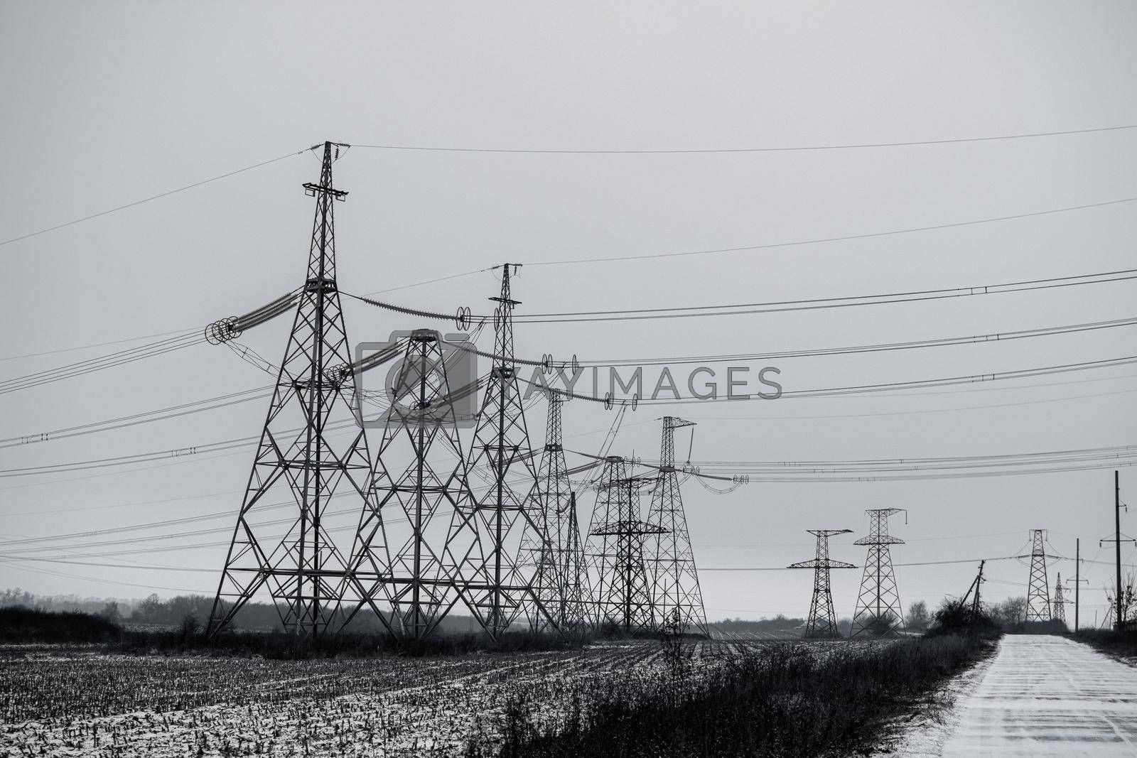 Power stations and power lines in Ukraine. High quality photo