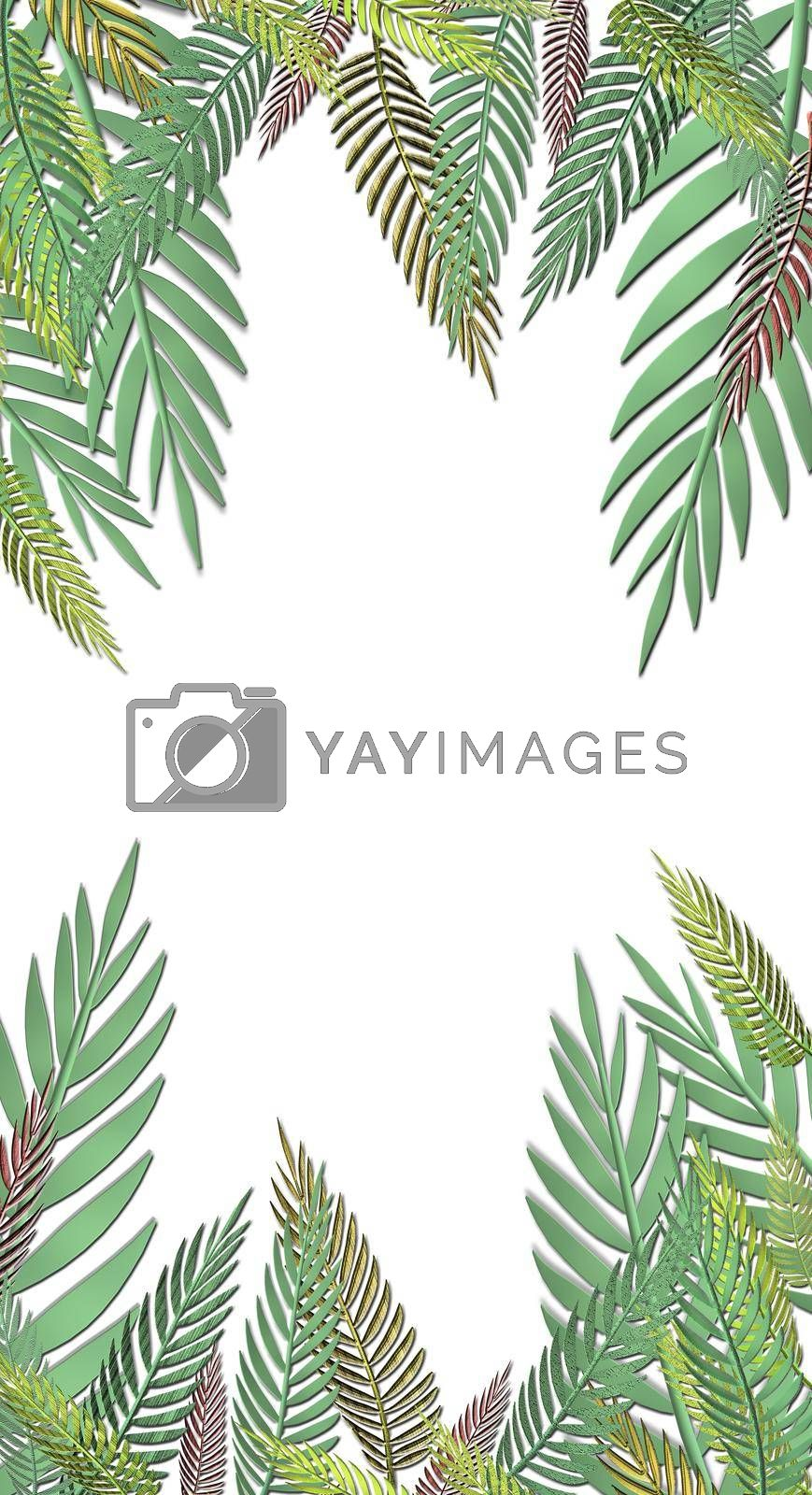 Tropical green leaves pattern on white background. Exotic wallpaper. 3D illustration