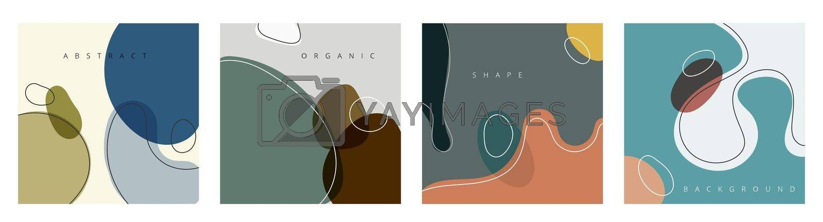 Set of abstract hand drawn creative design backgrounds organic shapes with lines in minimal trendy style. Templates for social media stories and posts. Vector illustration