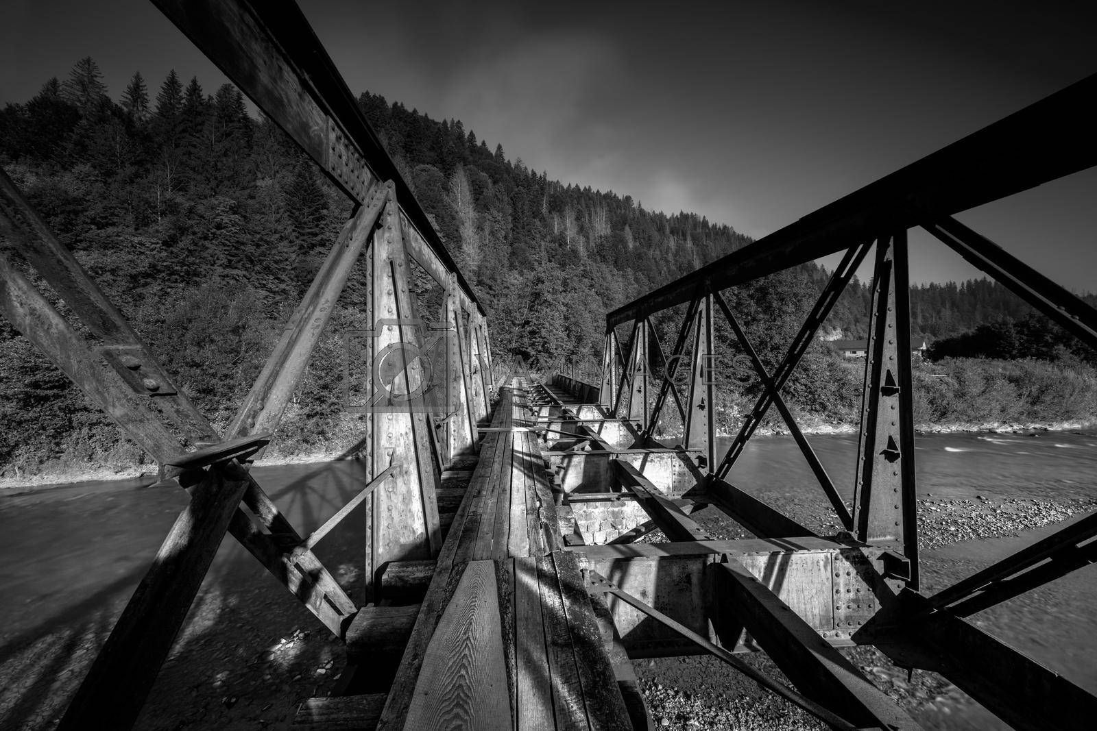 Black and White Photo of a Mountain River Bridge. Beautiful Landscape of a Carpathian mountains. Ukraine.