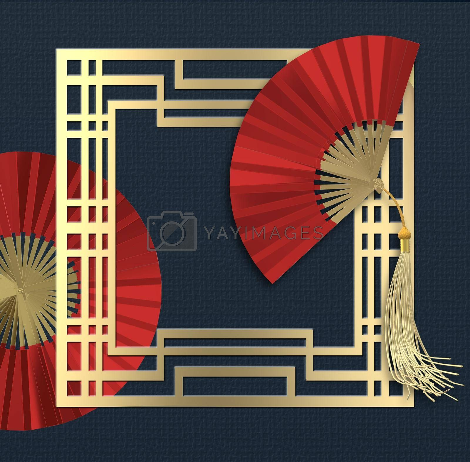 Chinese new year. Red paper fans, gold frame on blue background. Greetings card, invitation, posters, brochure, calendar, flyers, banner. Abstract minimalist 3D illustration