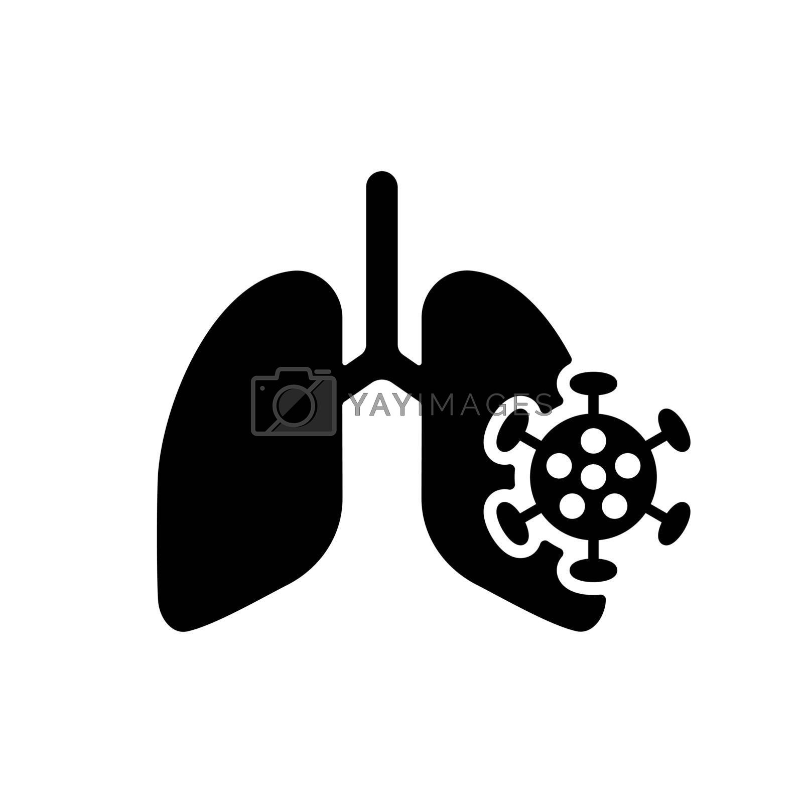 Human lungs infected by virus and bacteria vector glyph icon. Medical sign. Coronavirus. Graph symbol for medical web site and apps design, logo, app, UI