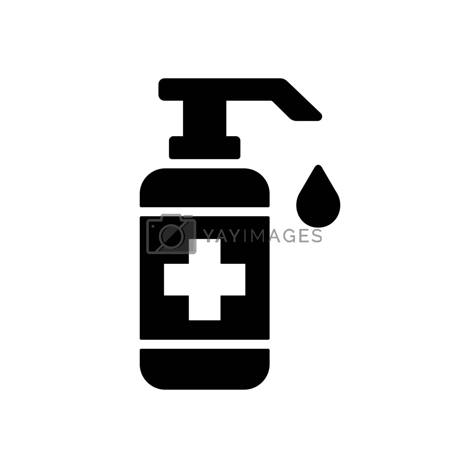 Washing hand with sanitizer liquid soap vector glyph icon. Coronavirus. Graph symbol for medical web site and apps design, logo, app, UI