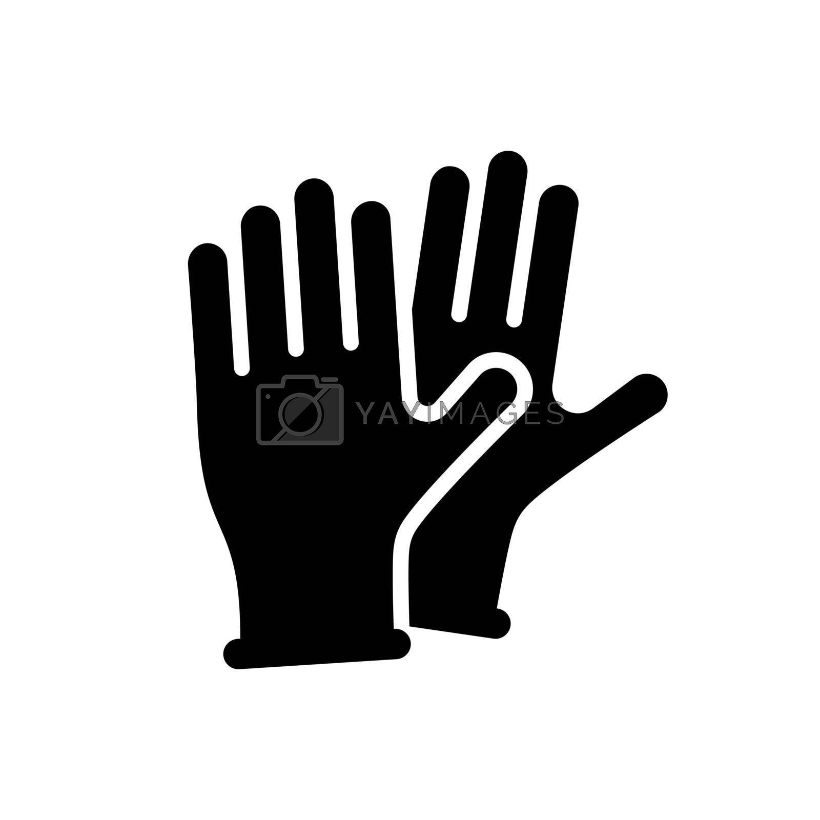 Medical protective rubber gloves vector glyph icon. Coronavirus. Graph symbol for medical web site and apps design, logo, app, UI
