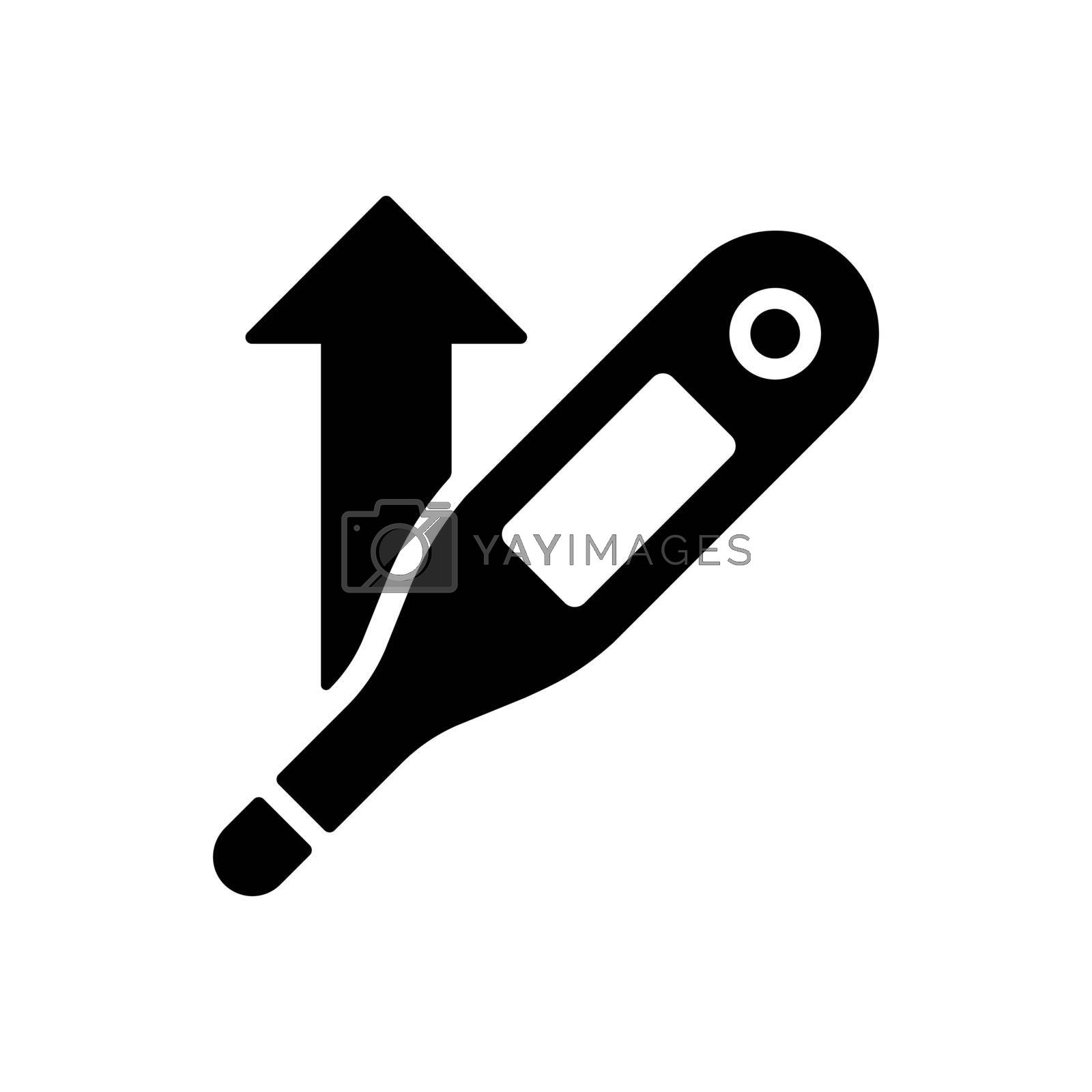 Increased temperature with thermometer vector glyph icon. Medical sign. Coronavirus. Graph symbol for medical web site and apps design, logo, app, UI