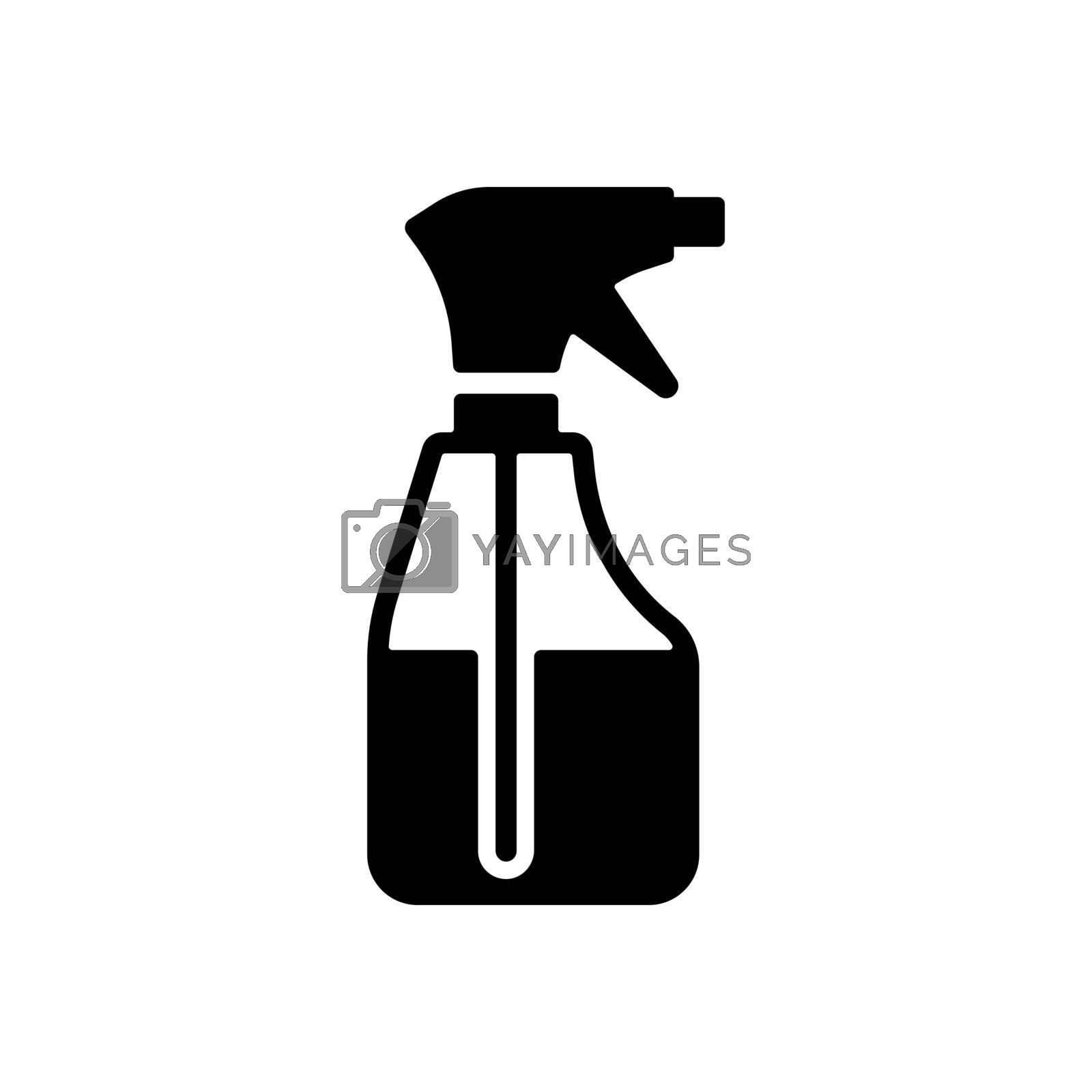Cleaning spray bottle vector glyph icon. Coronavirus. Graph symbol for medical web site and apps design, logo, app, UI