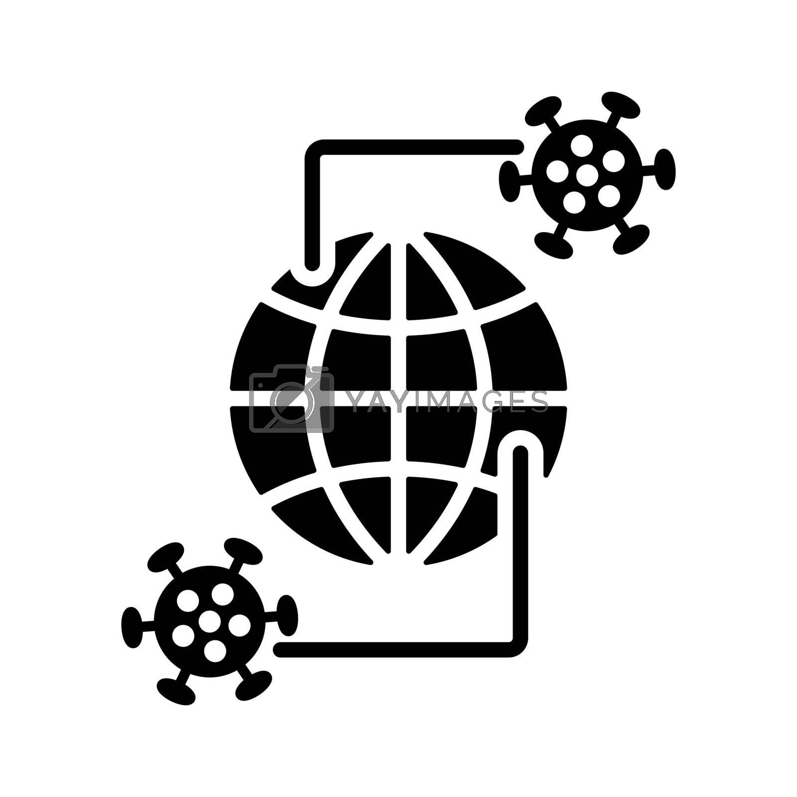 Planet Earth globe with glyph icon of coronavirus 2019-nCov. The spread of a virus outbreak in the world. COVID 19 outbreak and world pandemic risk concept.