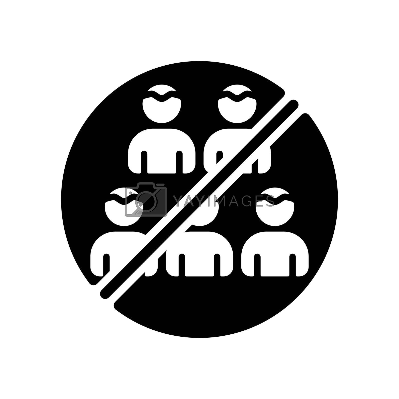 Social distancing prevention virus vector glyph icon. No gathering. Keep your distance. Avoid crowds. Coronavirus