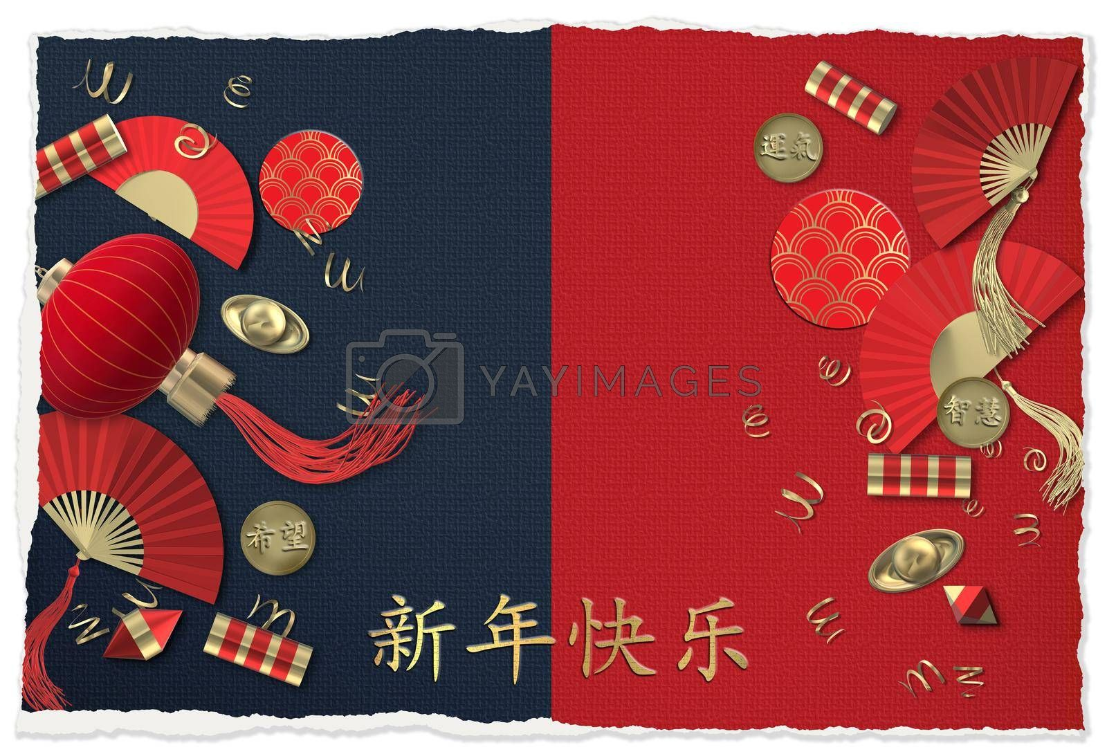Chinese new year. Lantern, fans, crackers. Oriental Asian symbols on red blue. Lucky envelopes coins with text Chinese translation Luck, Hope, Wisdom. Gold Chinese text Happy New Year. 3D render