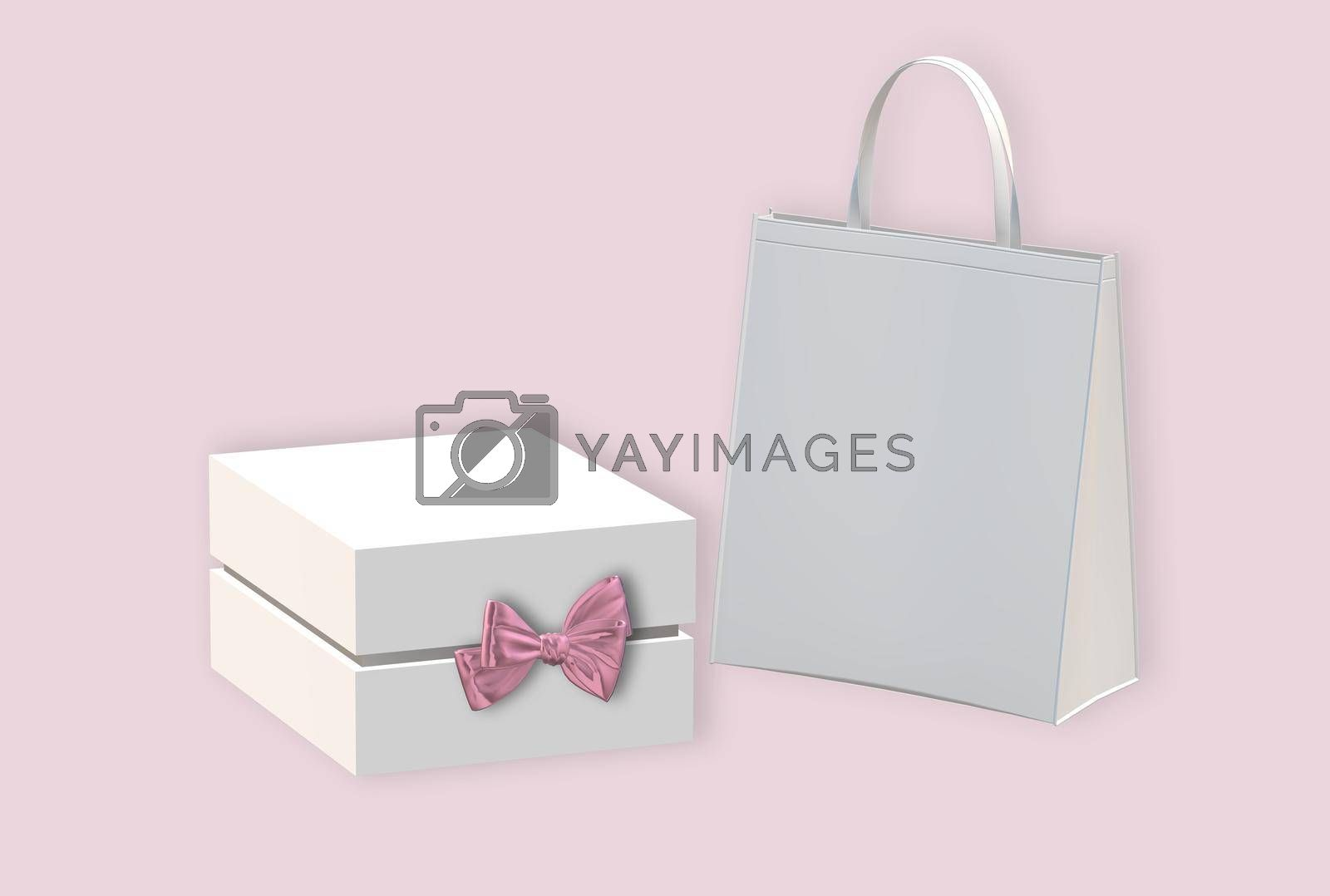 Gift box with golden bow, paper bag on pastel pink background. White box side view, place for text, mock up. Valentines, love design, sale, surprise, gift, birthday, wedding, Valentines 3D render