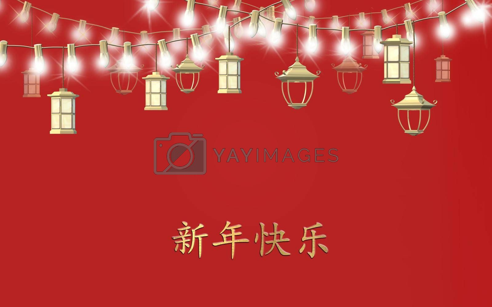 Traditional Chinese lanterns on string of lights on red background. Template for Chinese New Year festival celebration. Text Happy Chinese new year, 3D rendering illustration