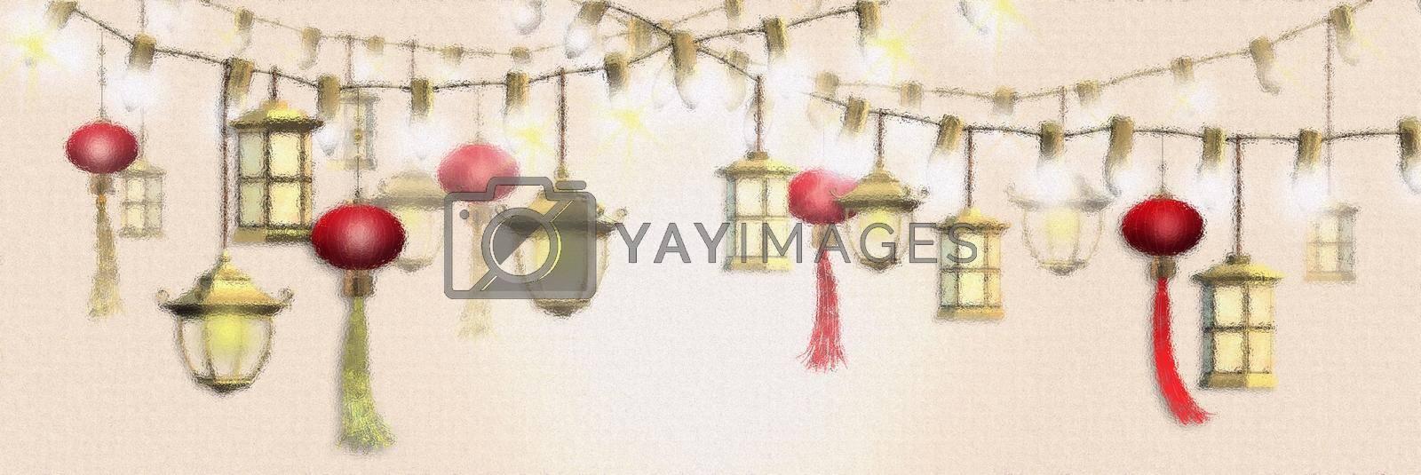 Chinese Lantern festival, new year, mid autumn decoration background with lanterns on yellow background. Soft focus design. Horizontal Header. 3D rendering illustration
