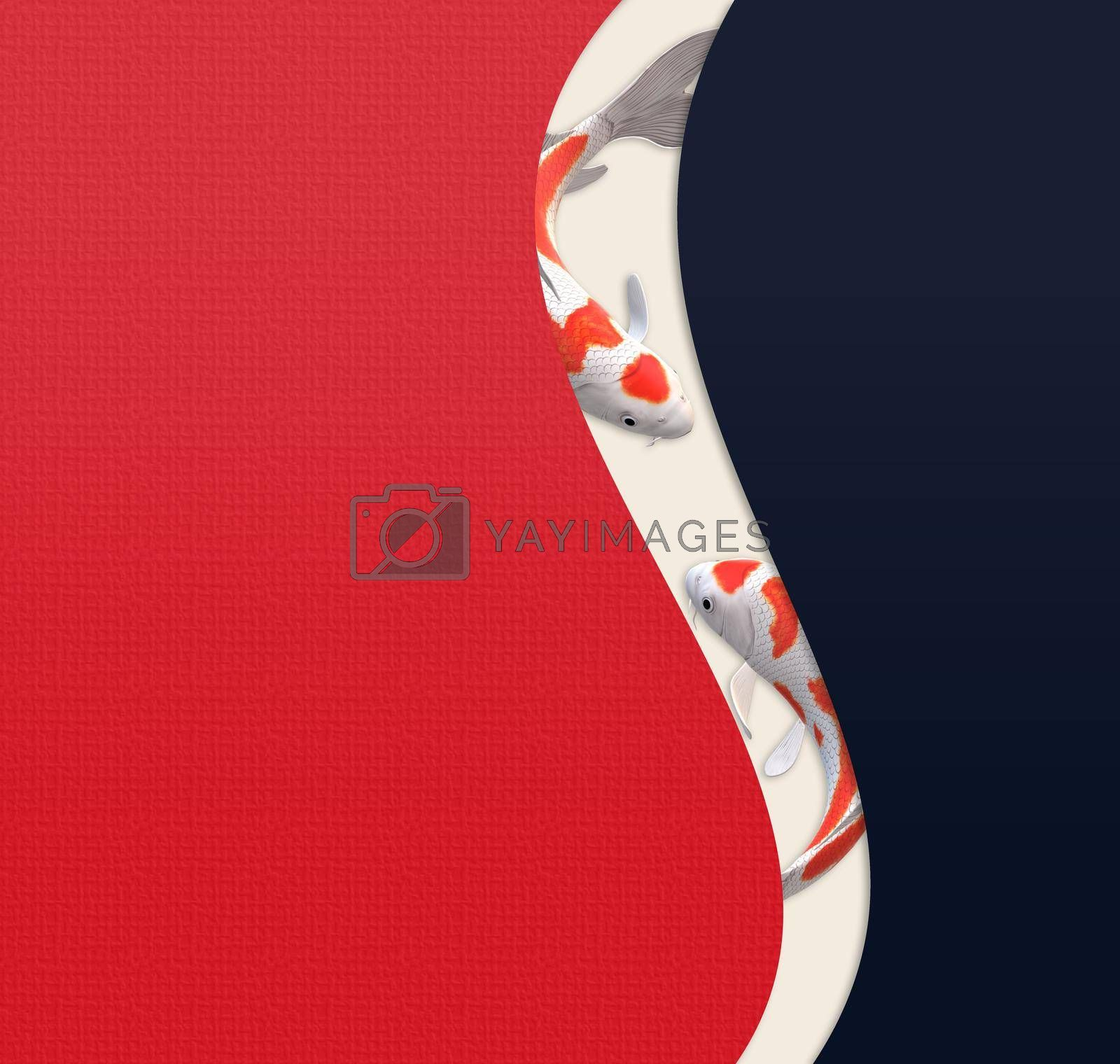 Koi carp fish, abstract minimalist design, oriental style. Chinese style background with koi carp fishes on red blue curves background. 3D illustration