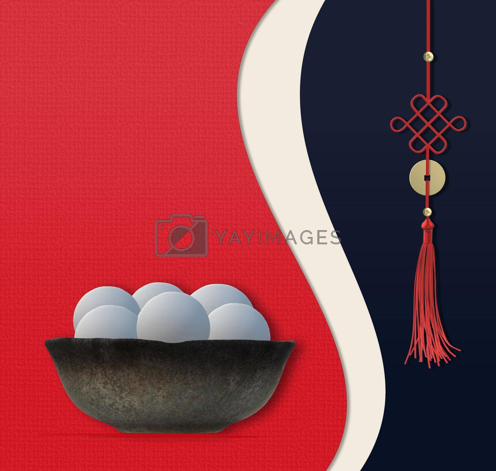 Chinese Lantern Festival food. Chinese food dumplings rice balls in bowl. Asian knot. Template for Chinese New Year Lantern festival celebration. Copy space, mock up. 3D illustration