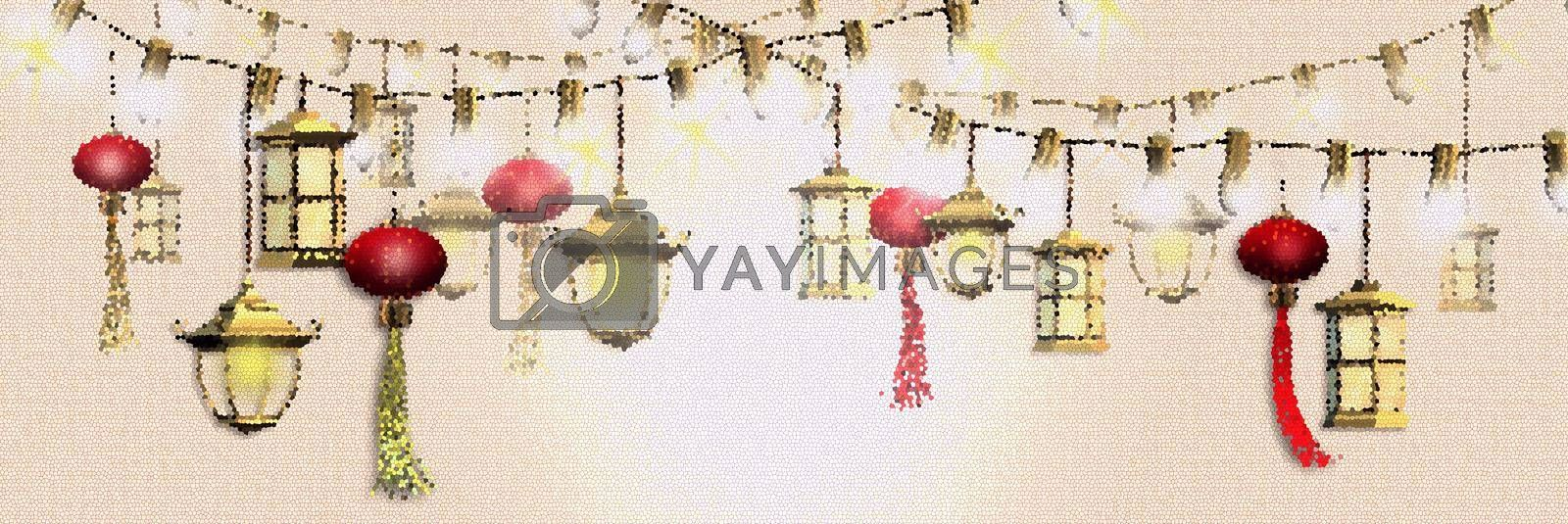 Lantern festival. Spring Chinese festival design. Oriental Asian traditional lanterns on string of lights on pastel yellow background. Place for text, 3D render