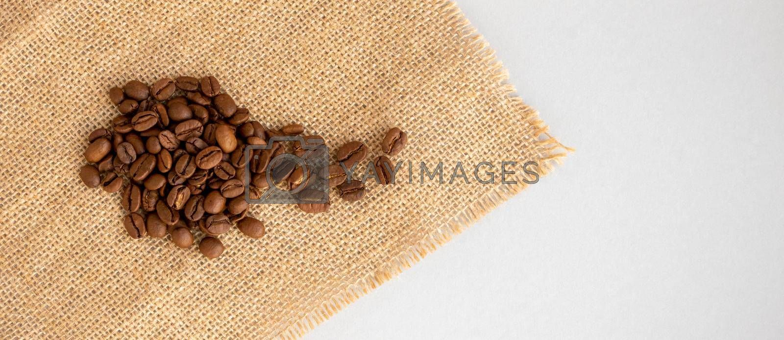Coffee beans and burlap lie on a gray background.