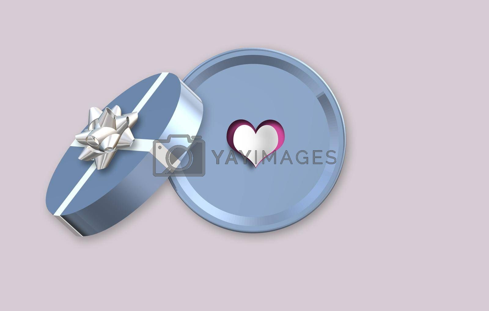 Happy Valentines day, gift box, heart. Love concept, Valentines design. Place for text, mock up 3D illustration
