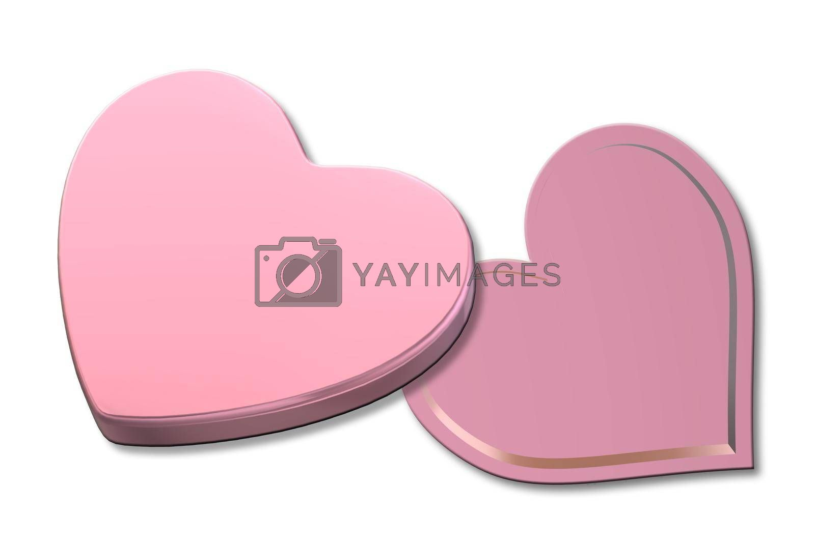 Open pink gift box heart shape top view. Love heart shape box on white background. Love, Valentines, birthday, Mothers day, Christmas, New Year's Day. Mock up, place for text. Izolated. 3d rendering