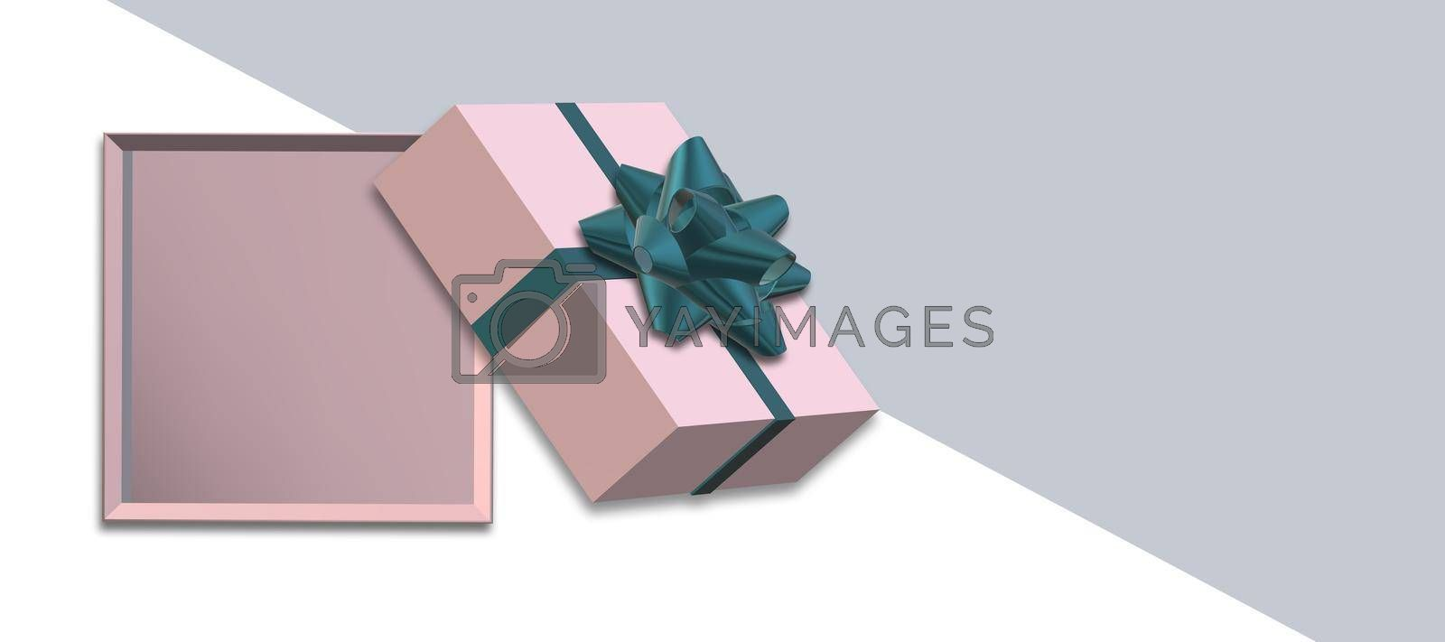 Gift box with green bow top view on white grey background. Pink box flat lay, place for text, mock up. Valentines, love design, sale, surprise, gift, birthday, wedding, Valentines 3D render