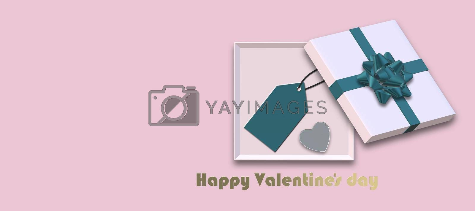 Open gift box, gold bow, gift tag, heart on pink background. Top view, flat lay, mock up. place for text. Valentines, love, sale, surprise, gift, birthday, wedding love template Horizontal 3D render