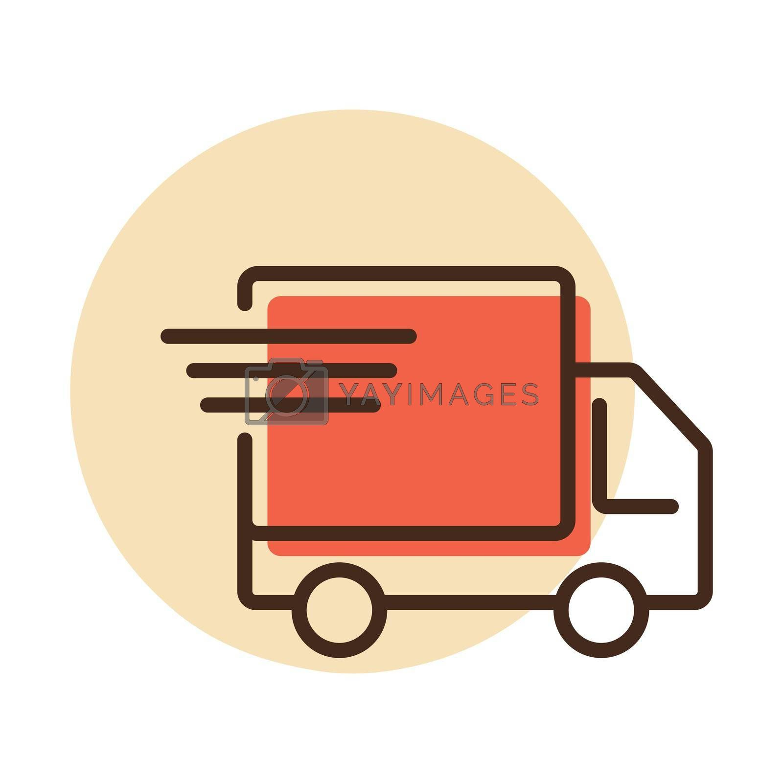 Fast shipping delivery truck vector flat icon. E-commerce sign. Graph symbol for your web site design, logo, app, UI