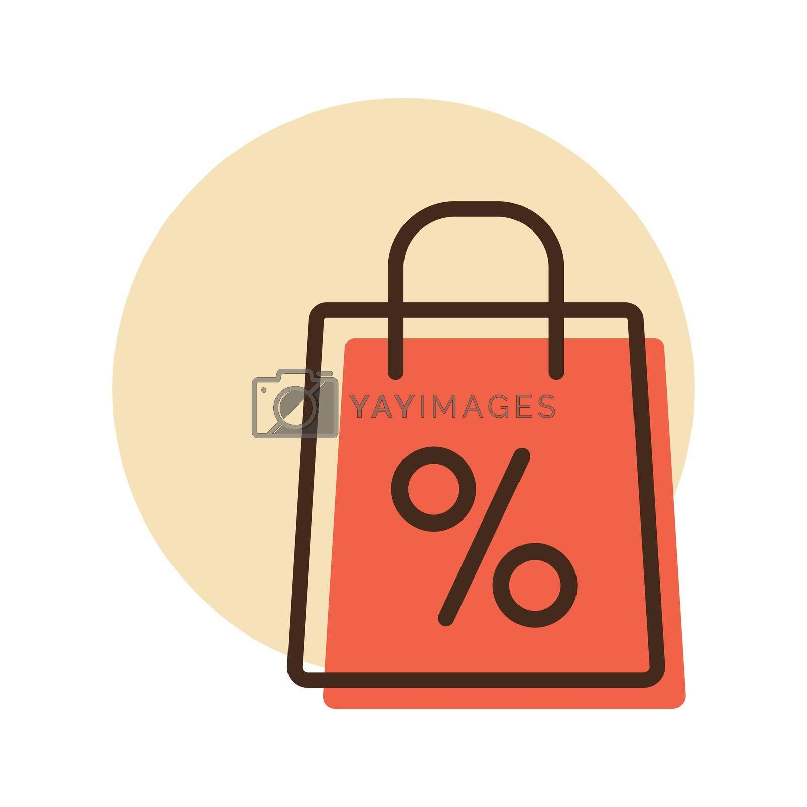 Shopping bag with percent symbol vector icon. E-commerce sign. Graph symbol for your web site design, logo, app, UI