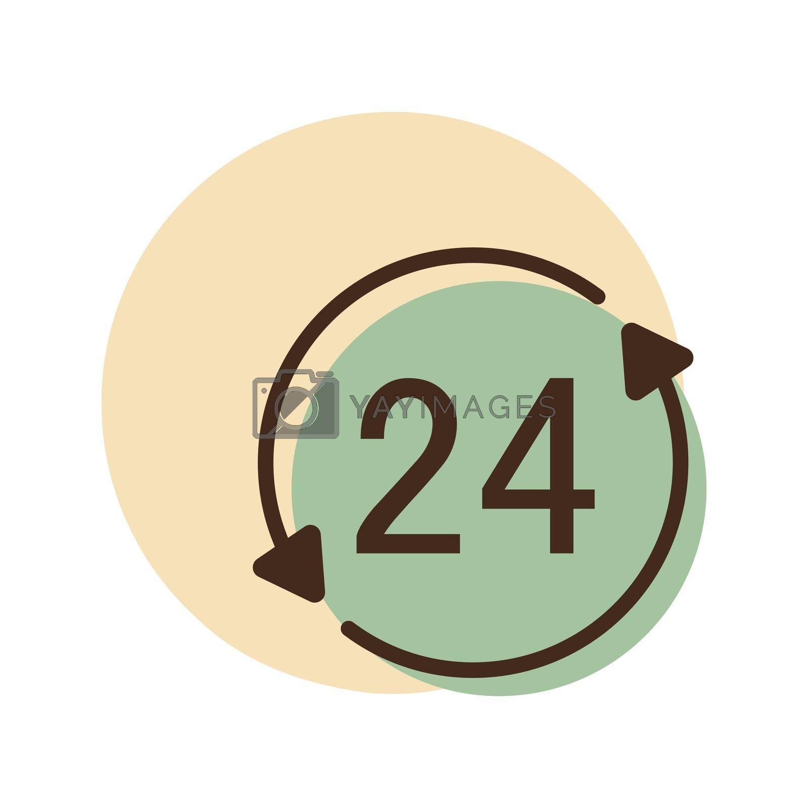 Service twenty four hours vector icon. E-commerce sign. Graph symbol for your web site design, logo, app, UI