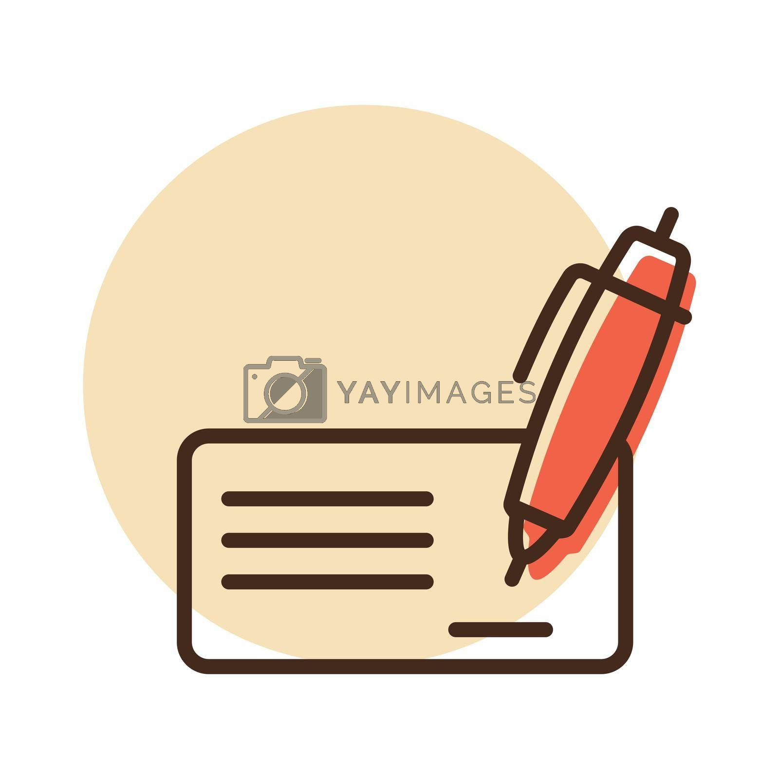 Blank bank check with pen and signature icon. E-commerce sign. Graph symbol for your web site design, logo, app, UI. Vector illustration, EPS10.