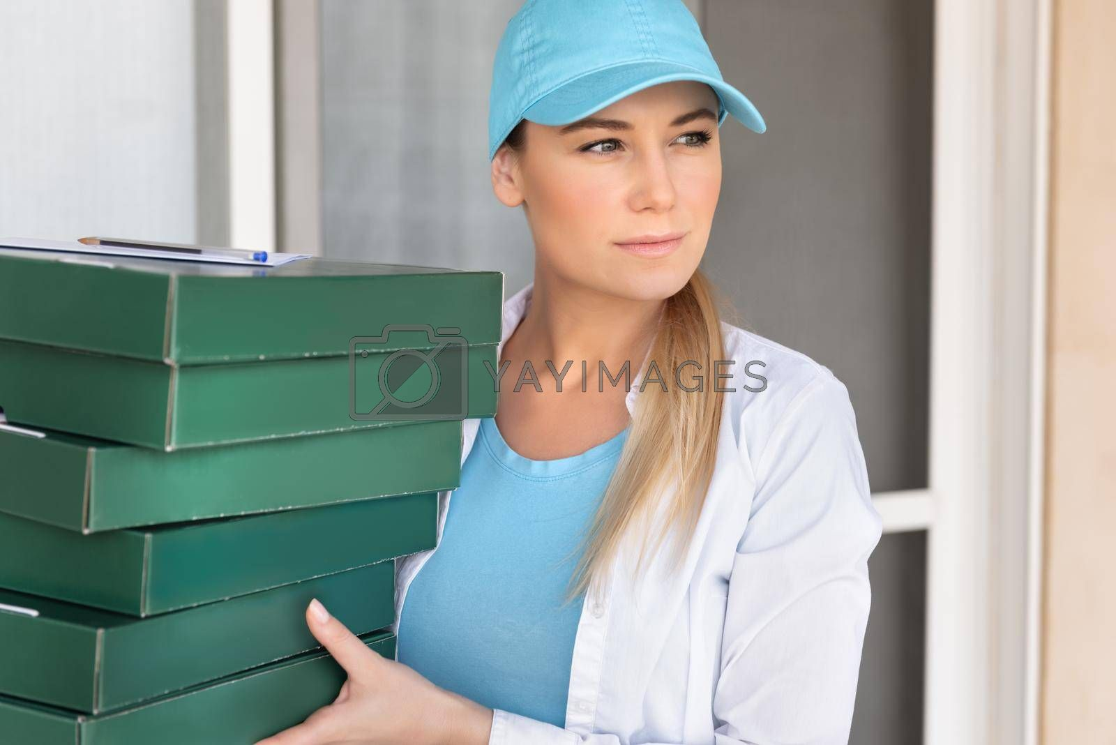 Portrait of a Nice Girl with Boxes. Online Home Delivery Service. Food Order and Delivery. Modern Way of Door to Door Business.