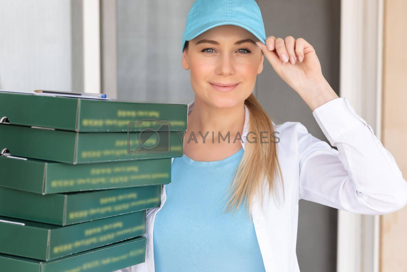 Portrait of a Nice Delivery Girl with Many Boxes. Service Occupation. Online Delivery. Food Delivery. Modern Way of Business.