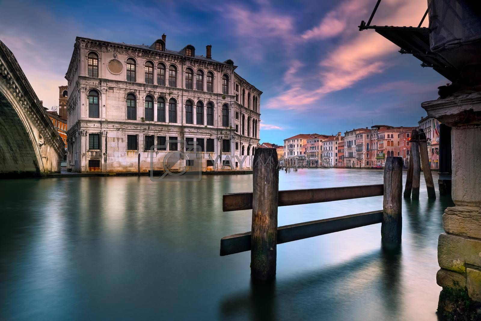 Beautiful Landscape of an Amazing Venetian Architecture. Gorgeous Vintage Buildings Standing in the Canal. Romantic Vacation to Venice. Italy. Europe.