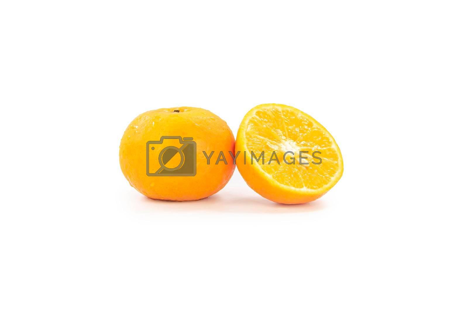Fresh yellow orange isolated on white background.