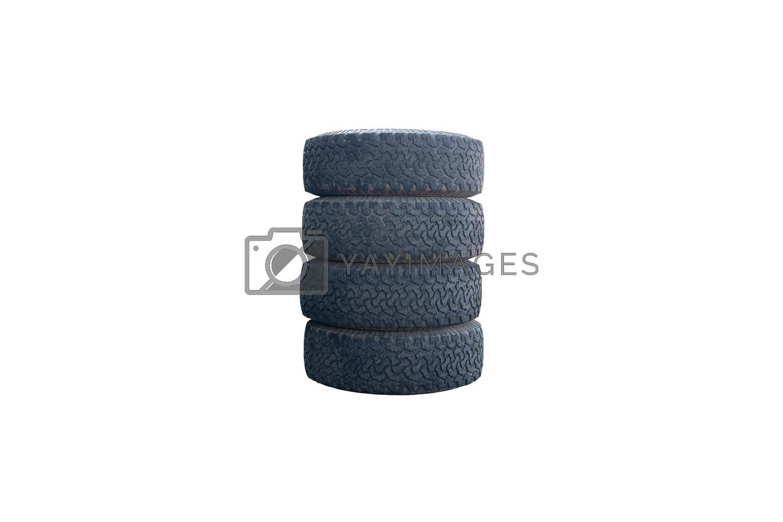 Pile of old car tires isolated on white background, with clipping path.