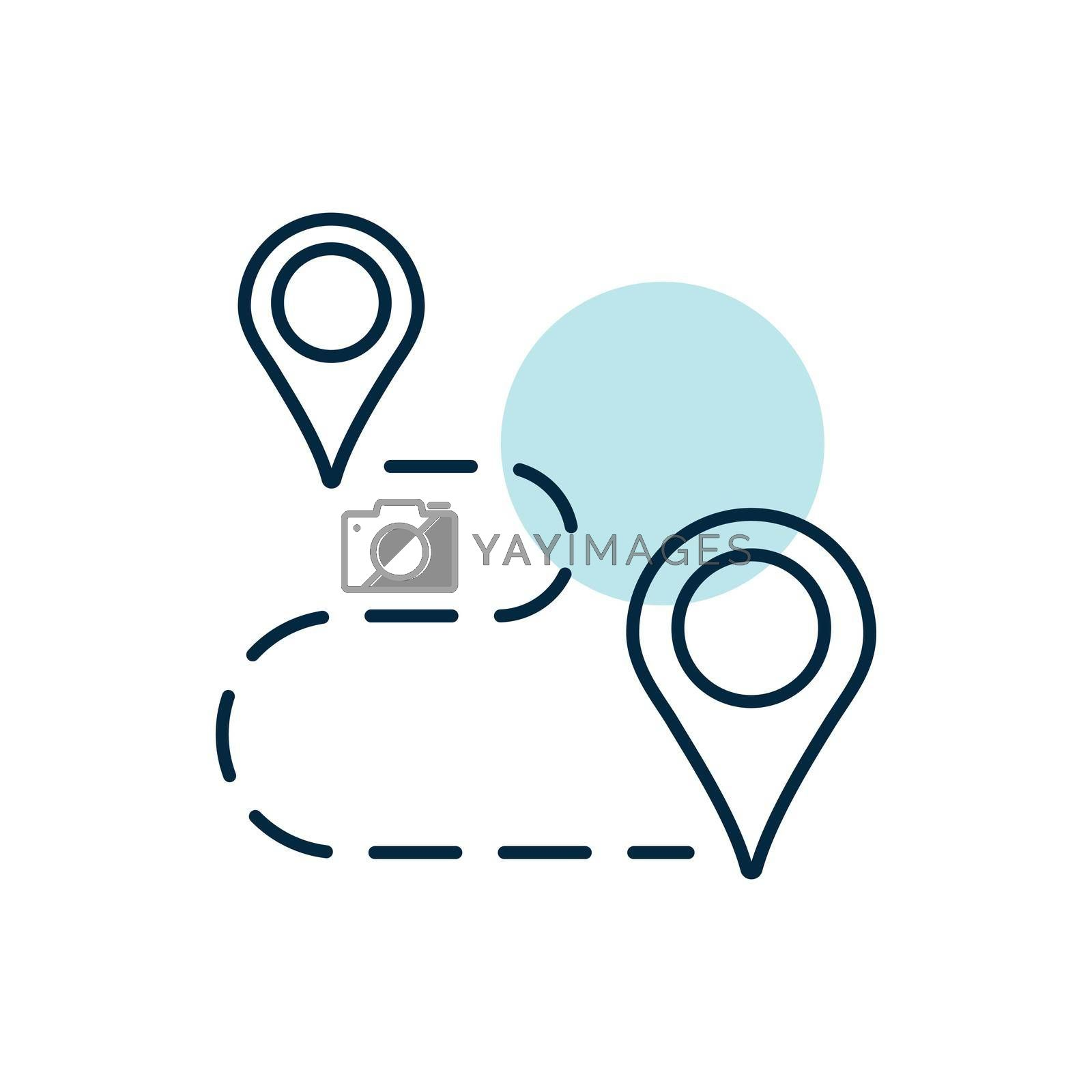 Route vector icon. Navigation sign. Graph symbol for travel and tourism web site and apps design, logo, app, UI
