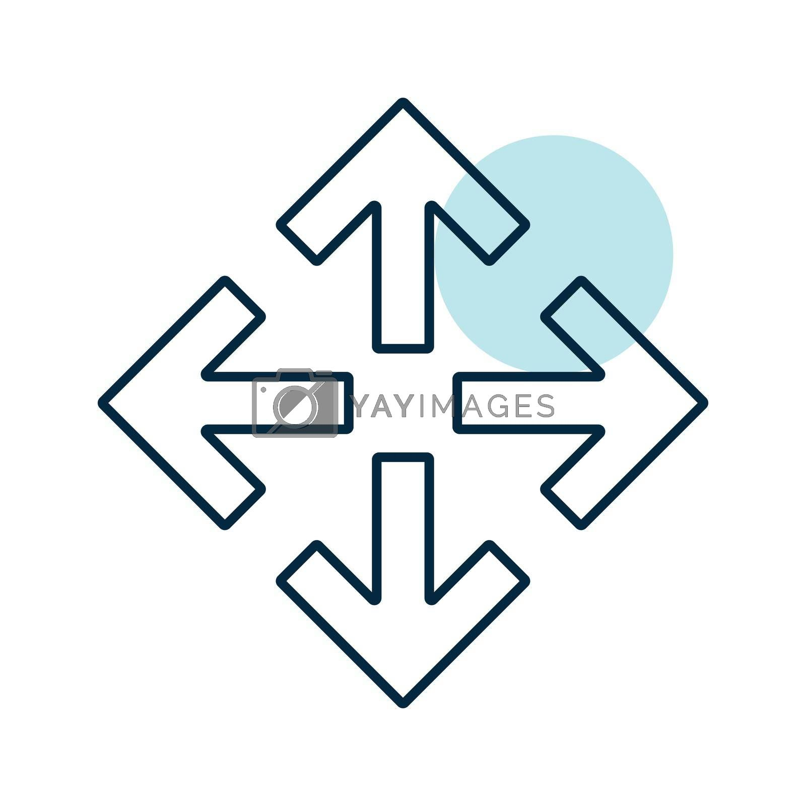 Four arrows pointing from the center vector icon. Navigation sign. Graph symbol for travel and tourism web site and apps design, logo, app, UI