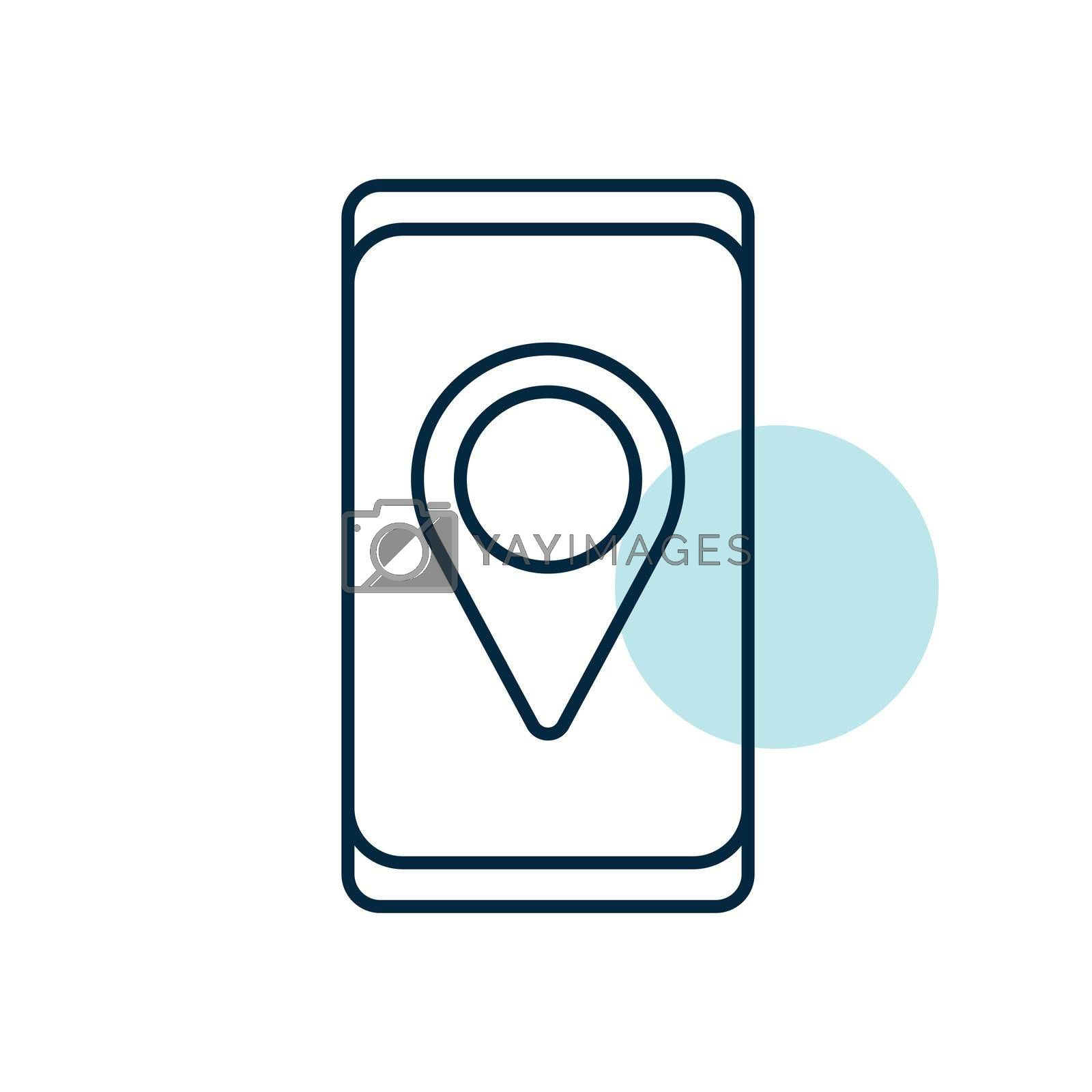 Smartphone with pin location style icon vector. Navigation sign. Graph symbol for travel and tourism web site and apps design, logo, app, UI