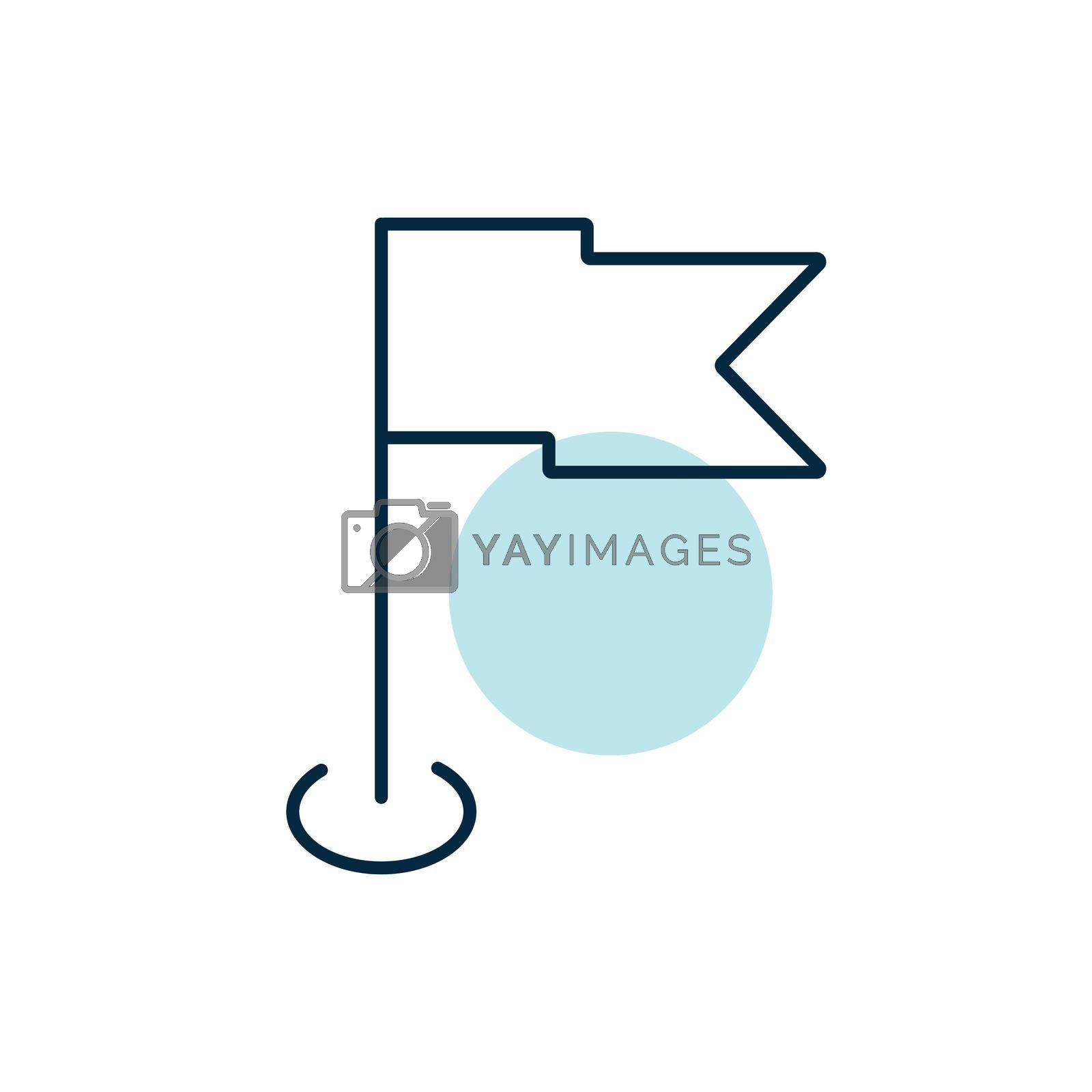 Flag GPS pin vector icon. Navigation sign. Graph symbol for travel and tourism web site and apps design, logo, app, UI