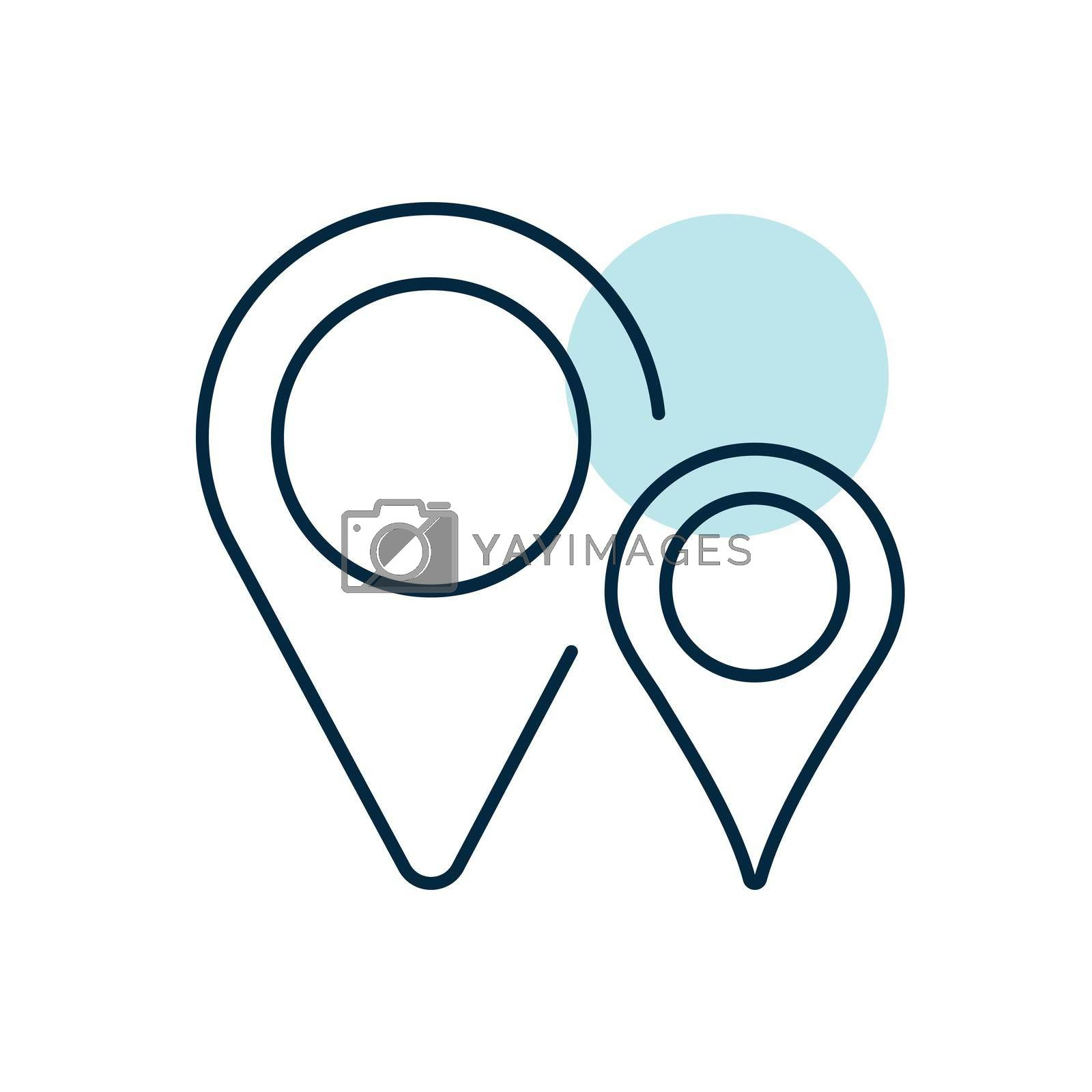 Two pin map icon. Map pointer. Map markers. GPS location symbol. Navigation sign. Graph symbol for travel and tourism web site and apps, logo, app, UI