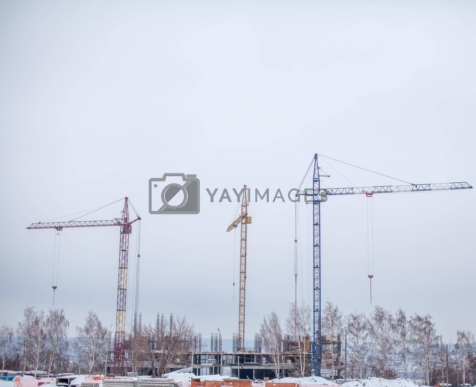Royalty free image of High-rise crane for construction on the sky background. by AnatoliiFoto
