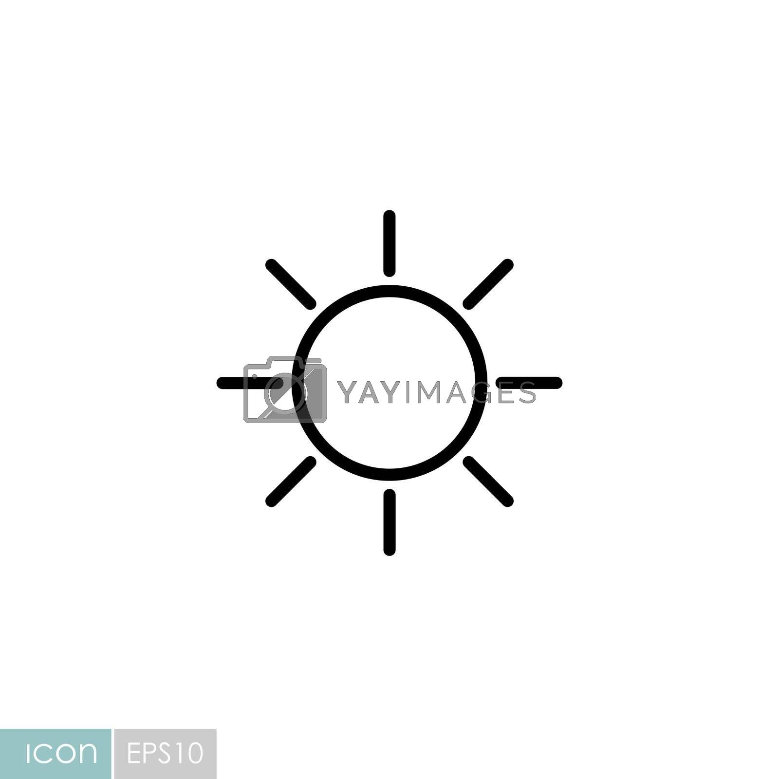 Sun vector icon. Symbol of the good weather. Meteorology sign. Graph symbol for travel, tourism and weather web site and apps design, logo, app, UI