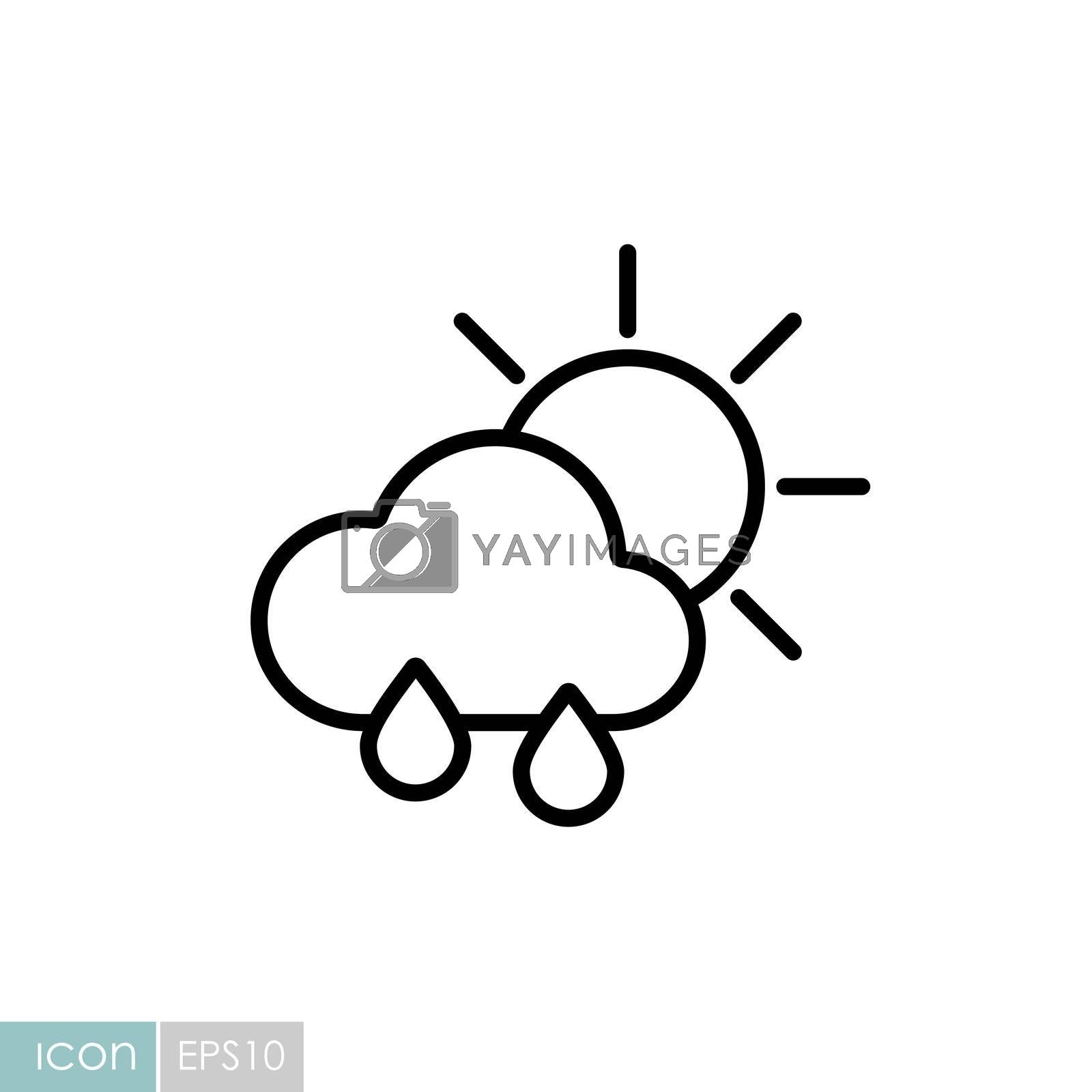 Sun with raincloud and raindrops vector icon. Meteorology sign. Graph symbol for travel, tourism and weather web site and apps design, logo, app, UI