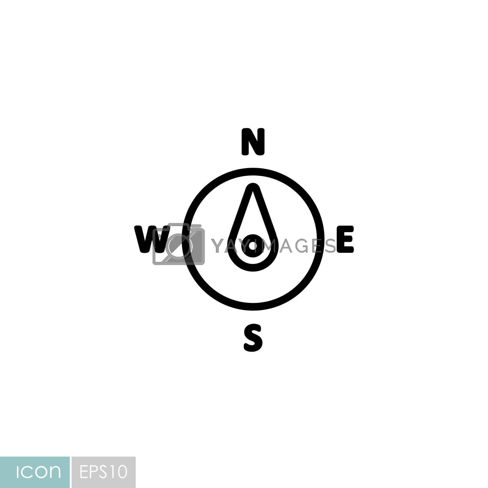 Compass wind rose vector icon. Direction north by nosik