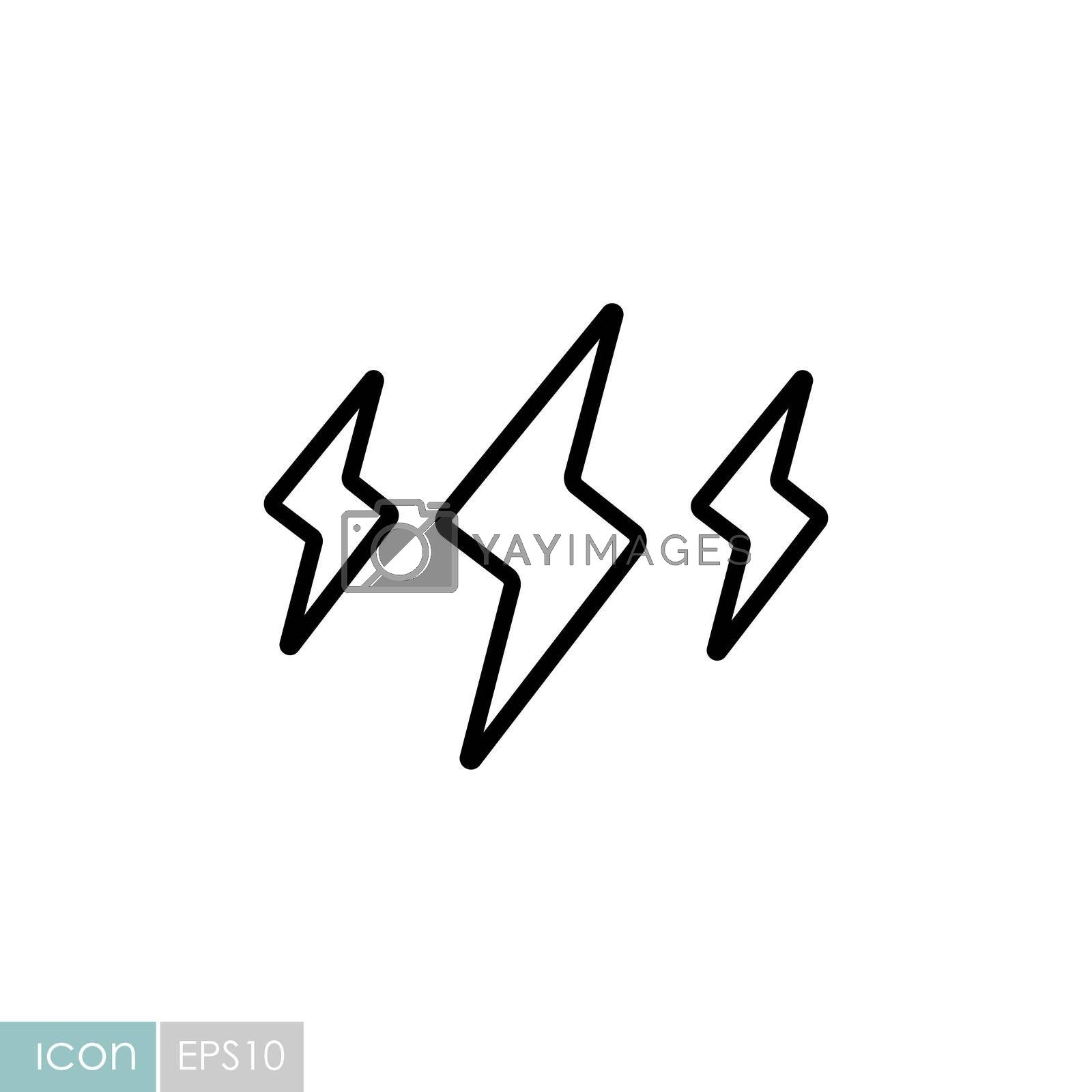 Rainstorm lightning vector icon. Meteorology sign. Graph symbol for travel, tourism and weather web site and apps design, logo, app, UI